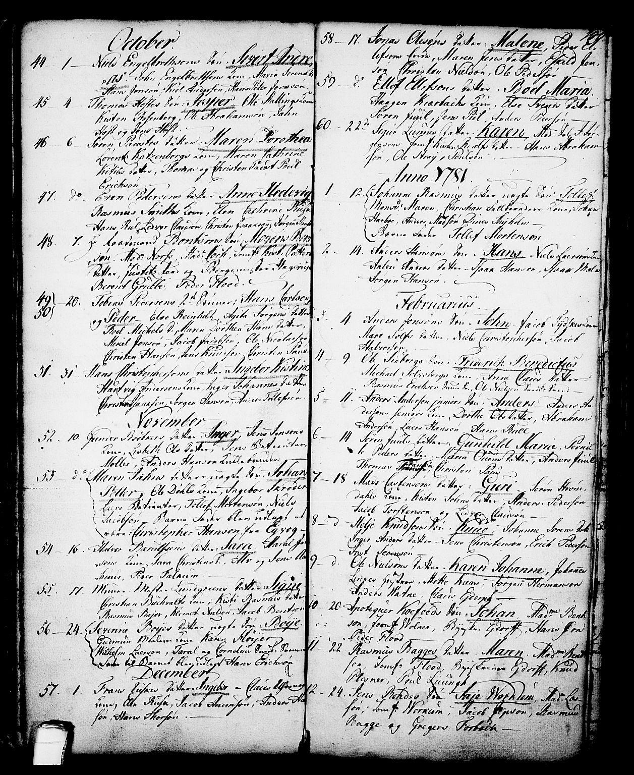 SAKO, Skien kirkebøker, G/Ga/L0001: Klokkerbok nr. 1, 1756-1791, s. 100