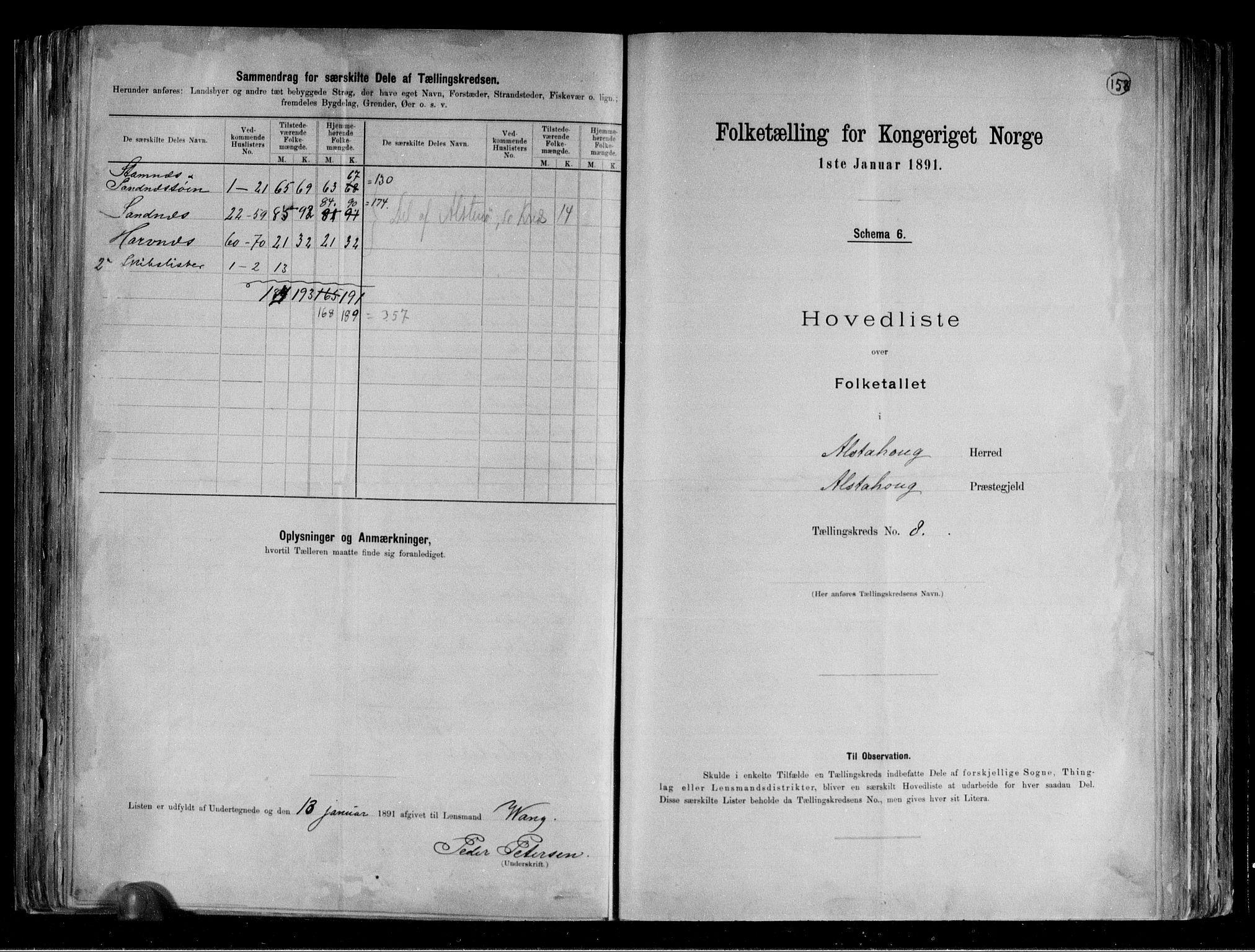RA, Folketelling 1891 for 1820 Alstahaug herred, 1891, s. 20
