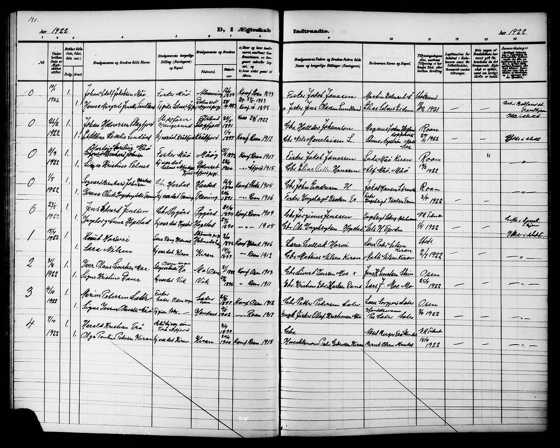 SAT, Ministerialprotokoller, klokkerbøker og fødselsregistre - Sør-Trøndelag, 657/L0717: Klokkerbok nr. 657C04, 1904-1923, s. 131