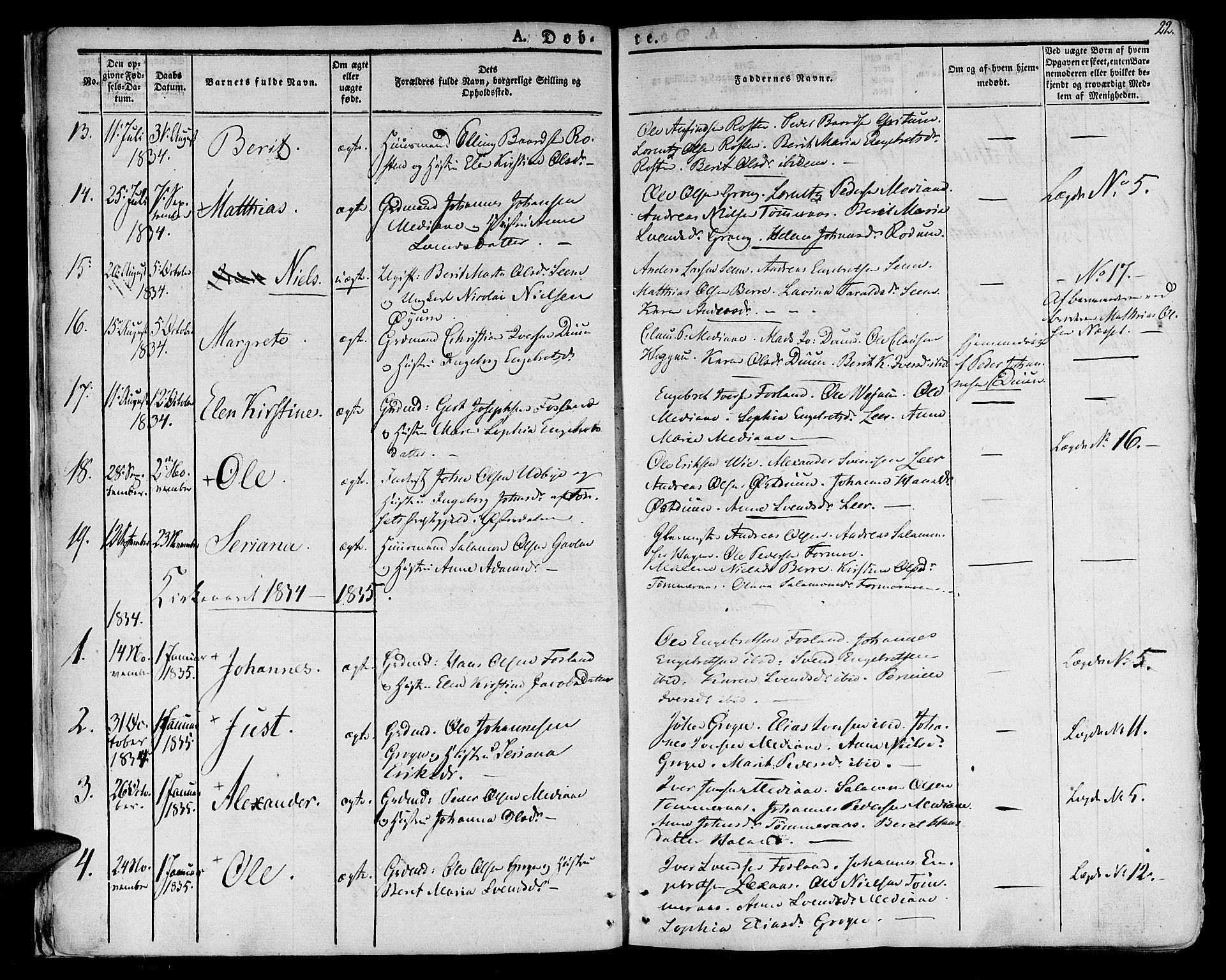 SAT, Ministerialprotokoller, klokkerbøker og fødselsregistre - Nord-Trøndelag, 758/L0510: Ministerialbok nr. 758A01 /1, 1821-1841, s. 22