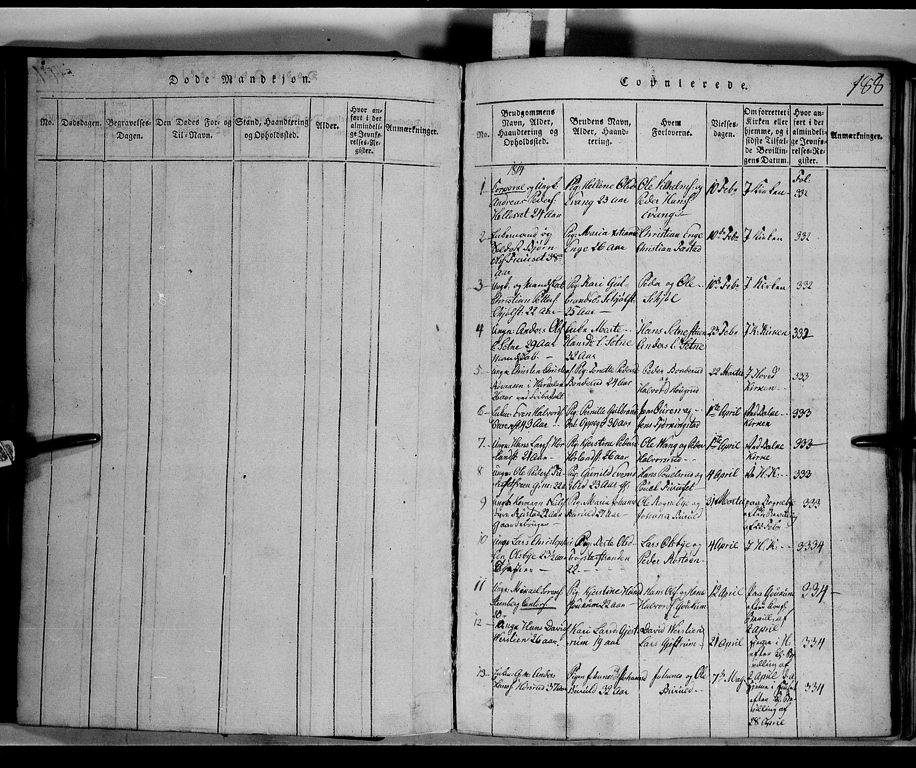 SAH, Toten prestekontor, Klokkerbok nr. 1, 1814-1820, s. 188