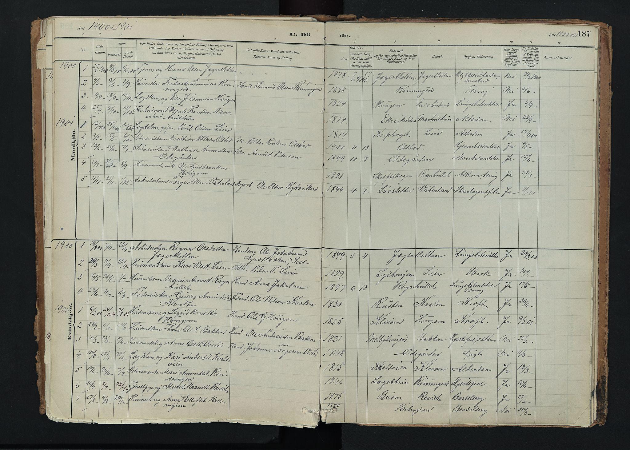 SAH, Nord-Fron prestekontor, Ministerialbok nr. 5, 1884-1914, s. 187