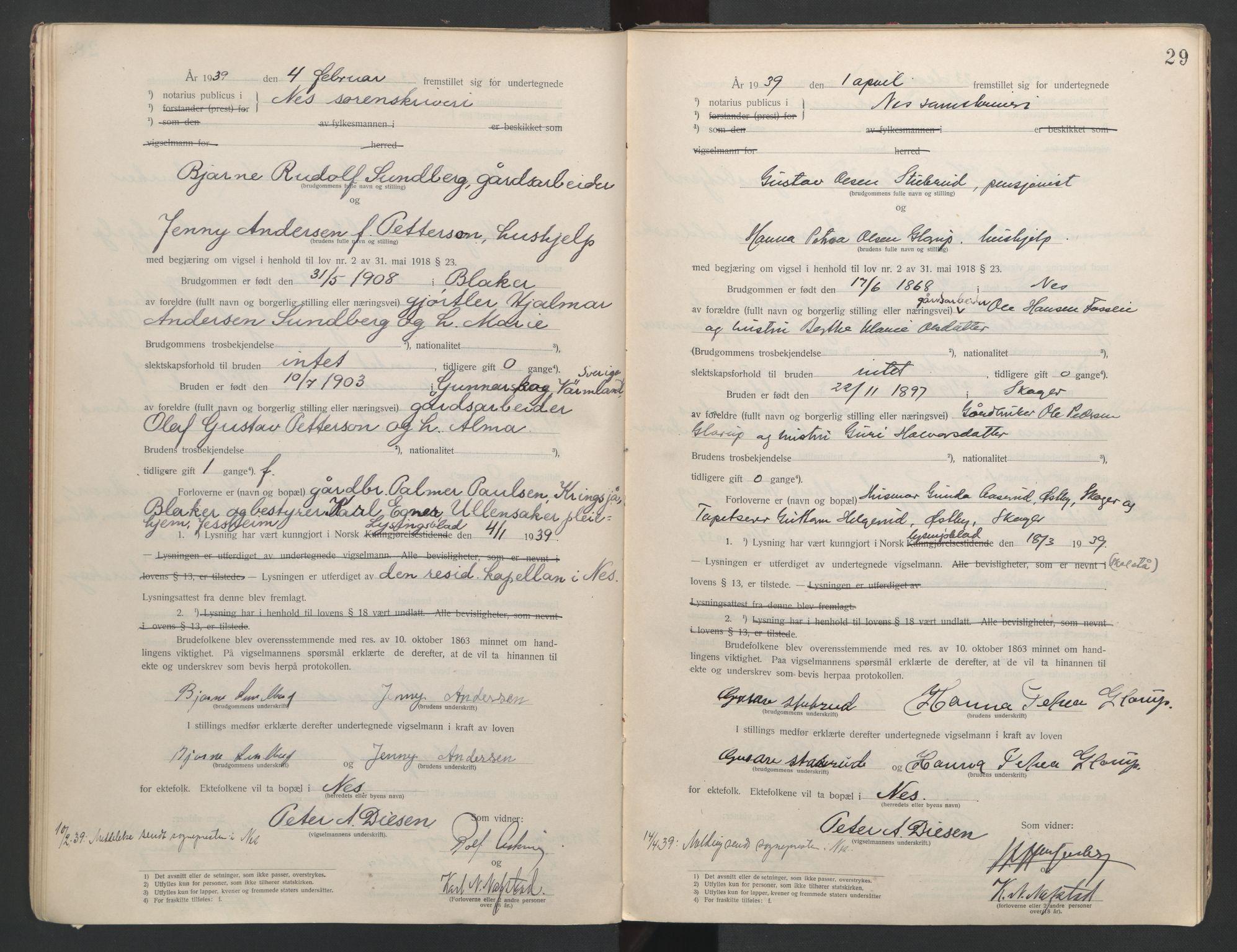 SAO, Nes tingrett, L/Lc/Lca/L0001: Vigselbok, 1920-1943, s. 29