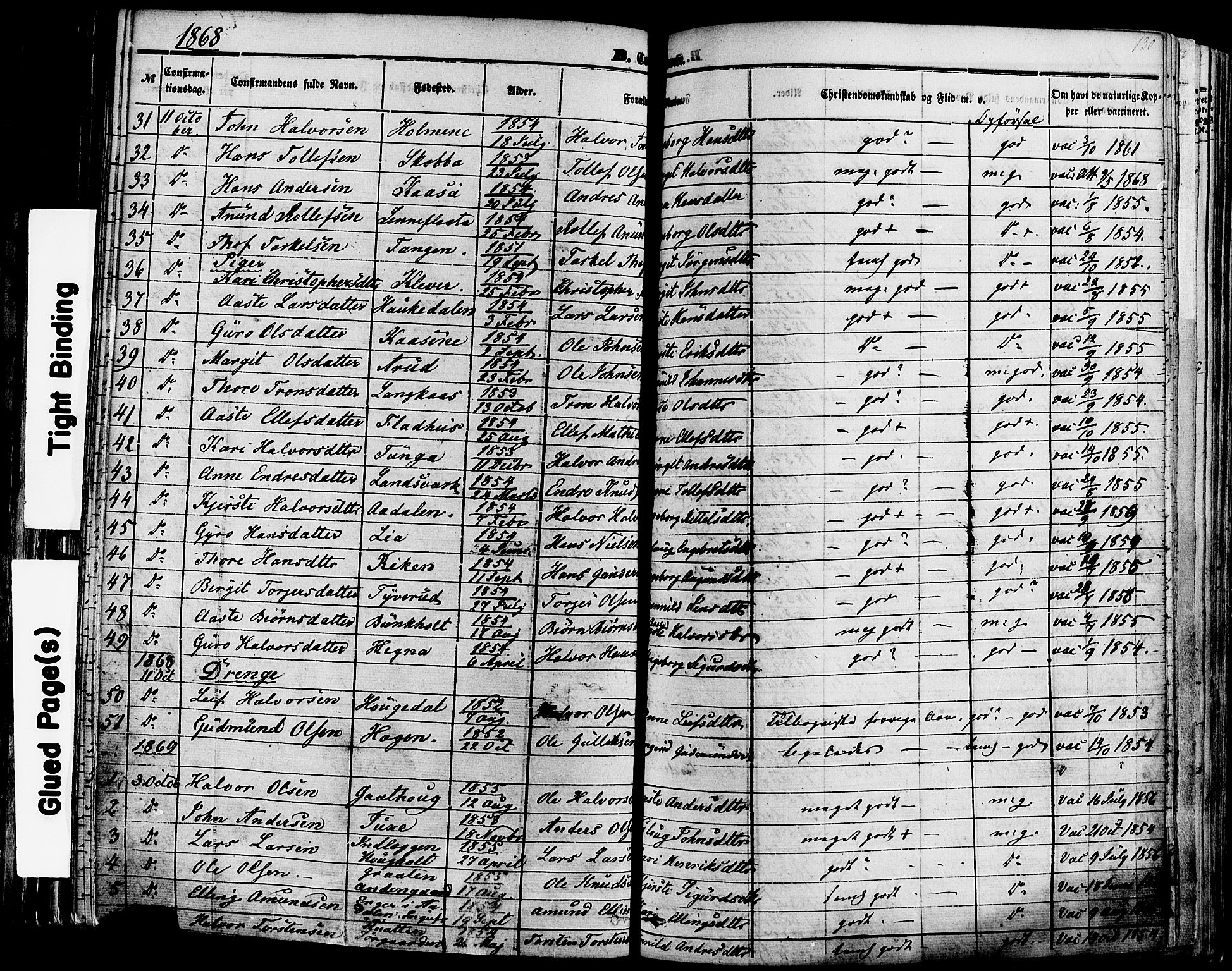 SAKO, Sauherad kirkebøker, F/Fa/L0007: Ministerialbok nr. I 7, 1851-1873, s. 130
