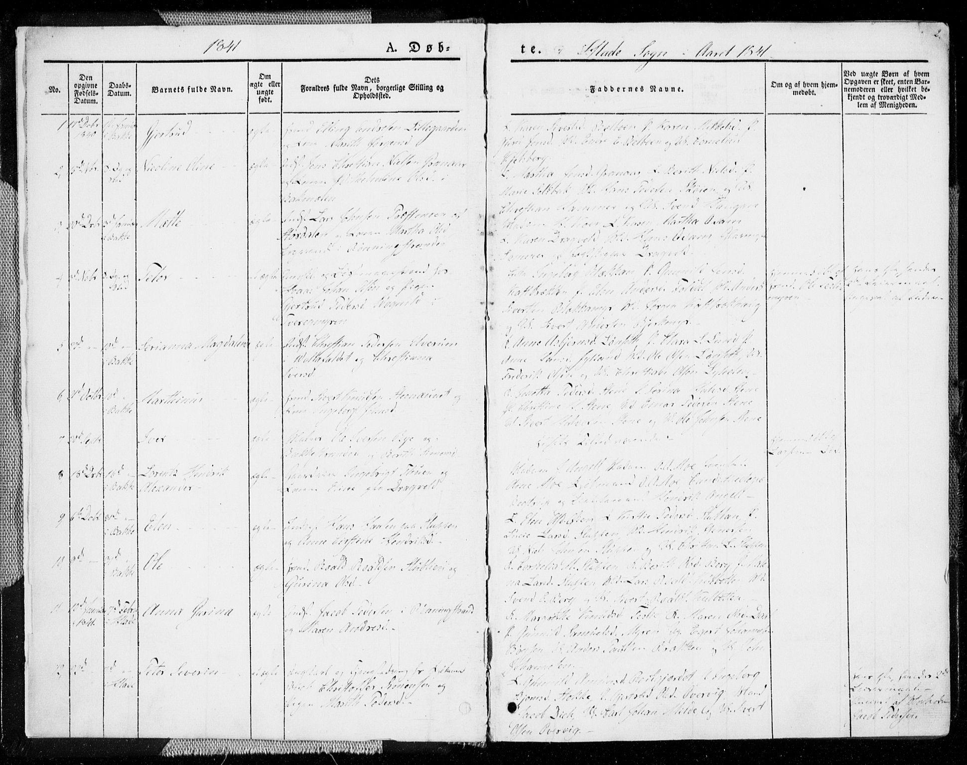 SAT, Ministerialprotokoller, klokkerbøker og fødselsregistre - Sør-Trøndelag, 606/L0290: Ministerialbok nr. 606A05, 1841-1847, s. 2