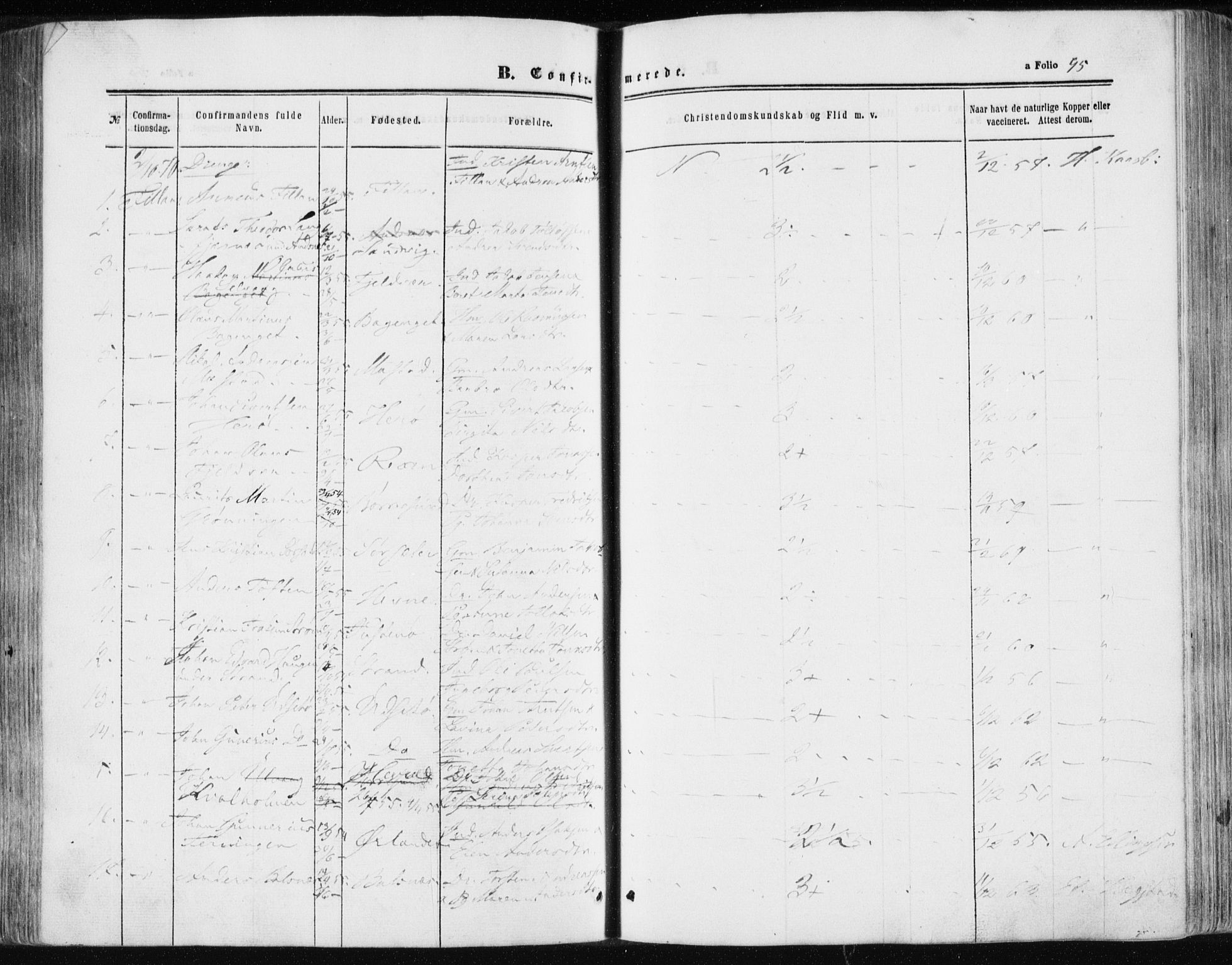 SAT, Ministerialprotokoller, klokkerbøker og fødselsregistre - Sør-Trøndelag, 634/L0531: Ministerialbok nr. 634A07, 1861-1870, s. 95