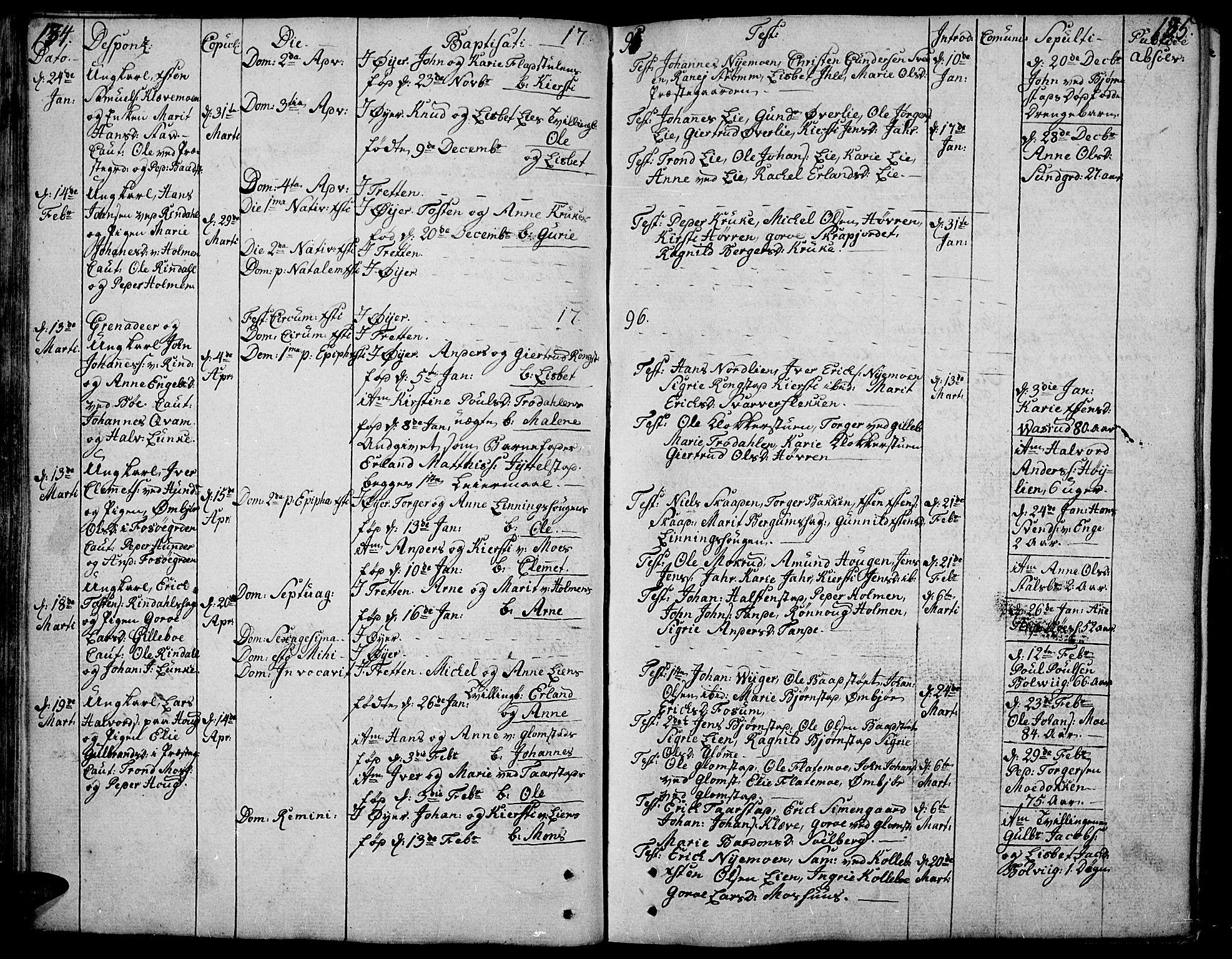 SAH, Øyer prestekontor, Ministerialbok nr. 3, 1784-1824, s. 134-135