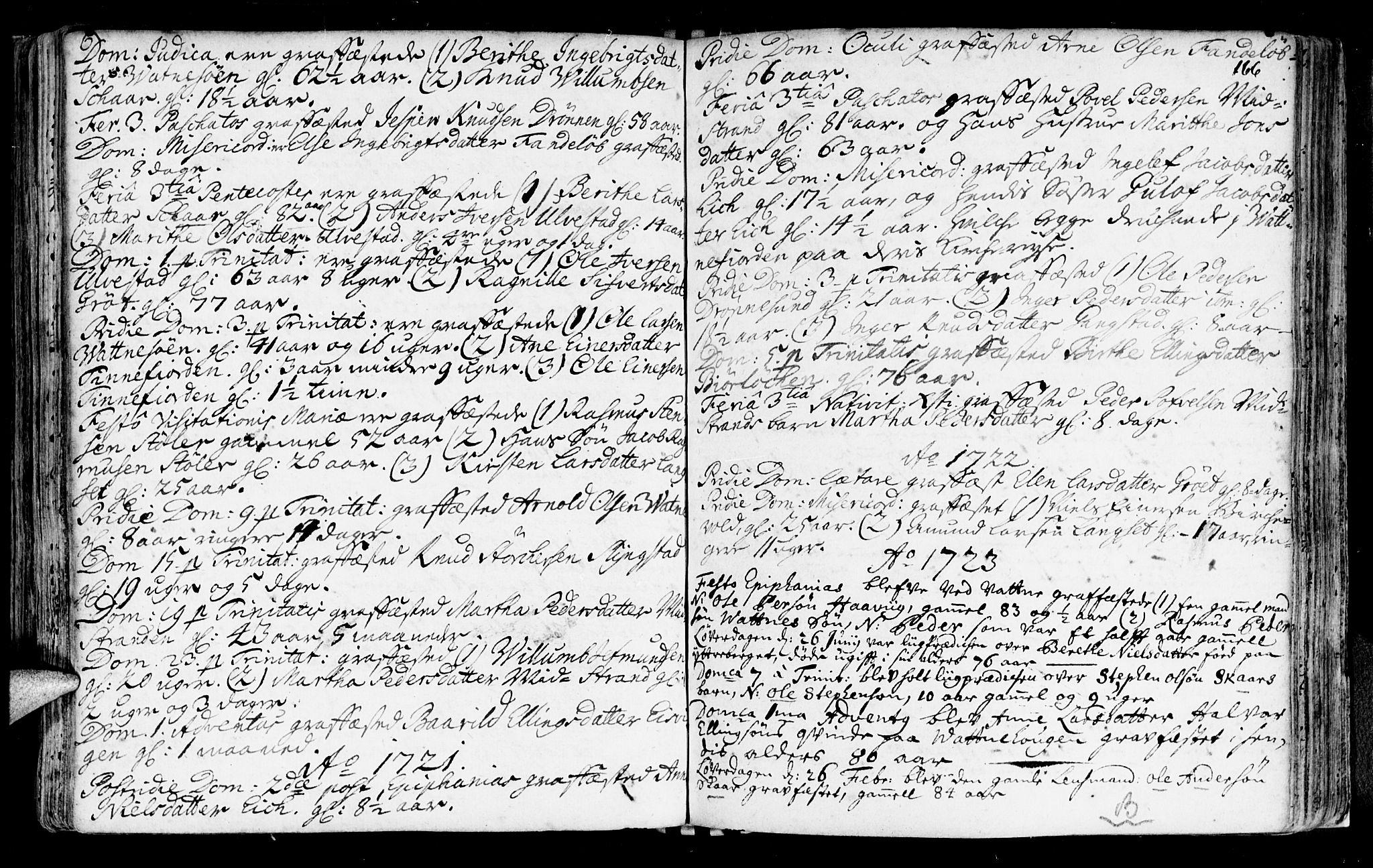 SAT, Ministerialprotokoller, klokkerbøker og fødselsregistre - Møre og Romsdal, 525/L0371: Ministerialbok nr. 525A01, 1699-1777, s. 166