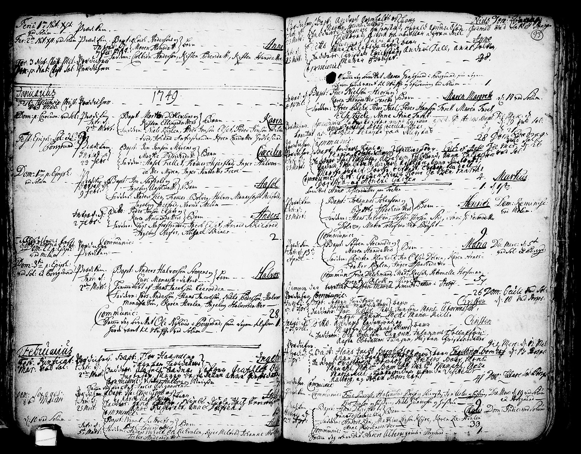 SAKO, Solum kirkebøker, F/Fa/L0002: Ministerialbok nr. I 2, 1713-1761, s. 93