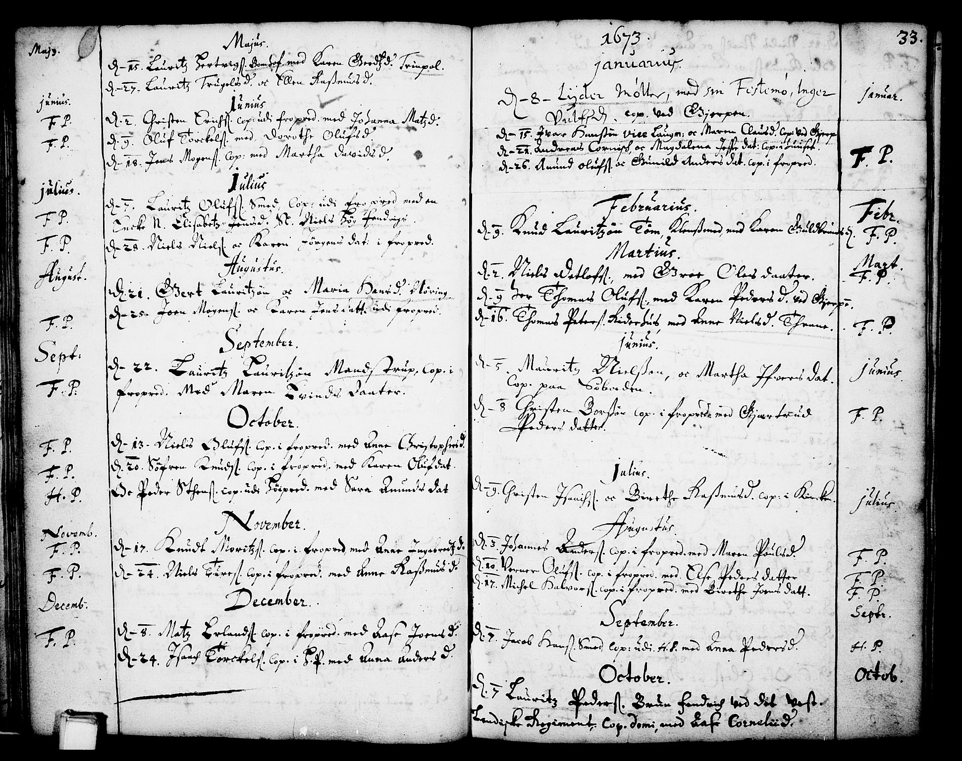 SAKO, Skien kirkebøker, F/Fa/L0001: Ministerialbok nr. 1, 1659-1679, s. 33