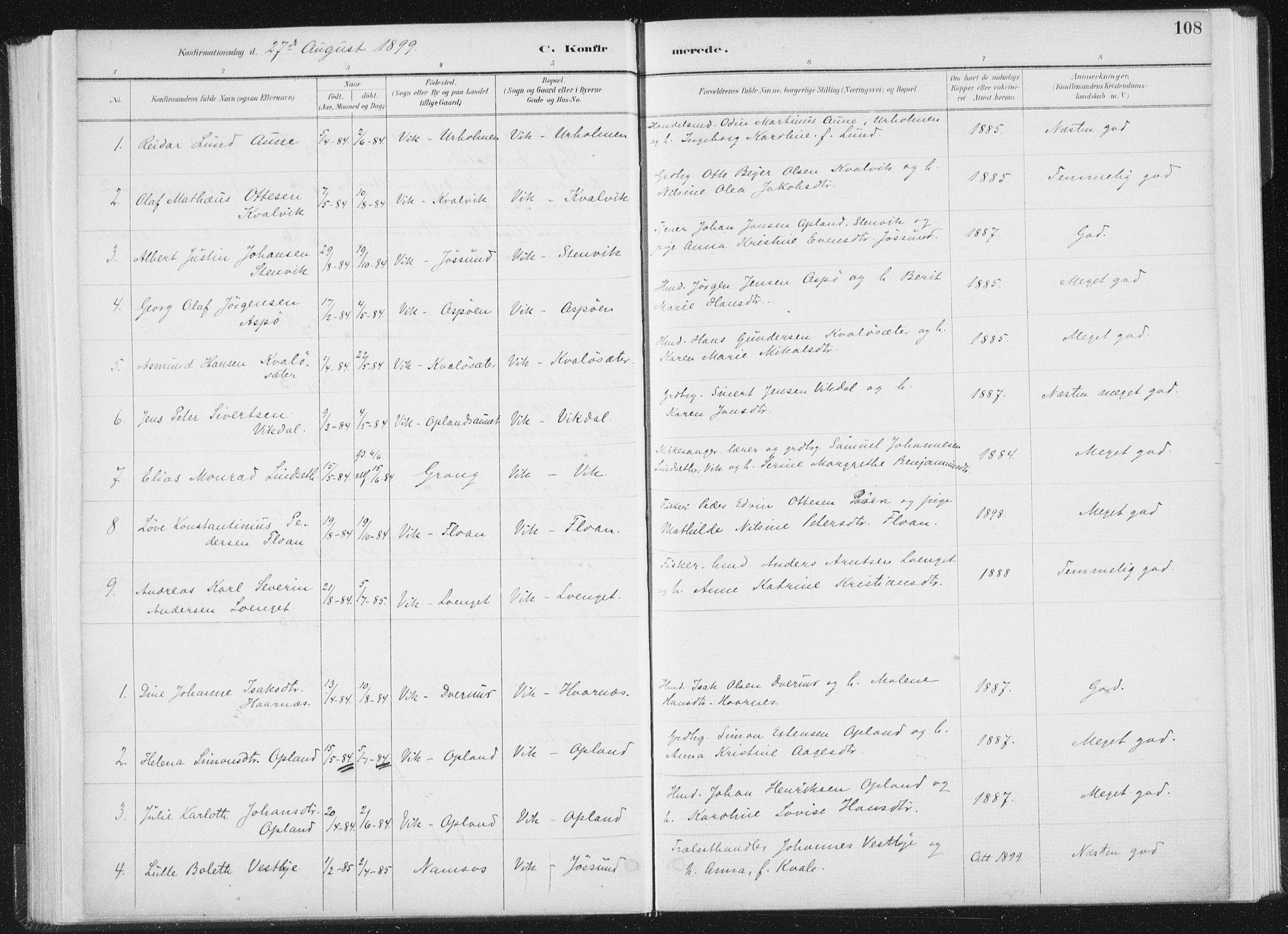 SAT, Ministerialprotokoller, klokkerbøker og fødselsregistre - Nord-Trøndelag, 771/L0597: Ministerialbok nr. 771A04, 1885-1910, s. 108