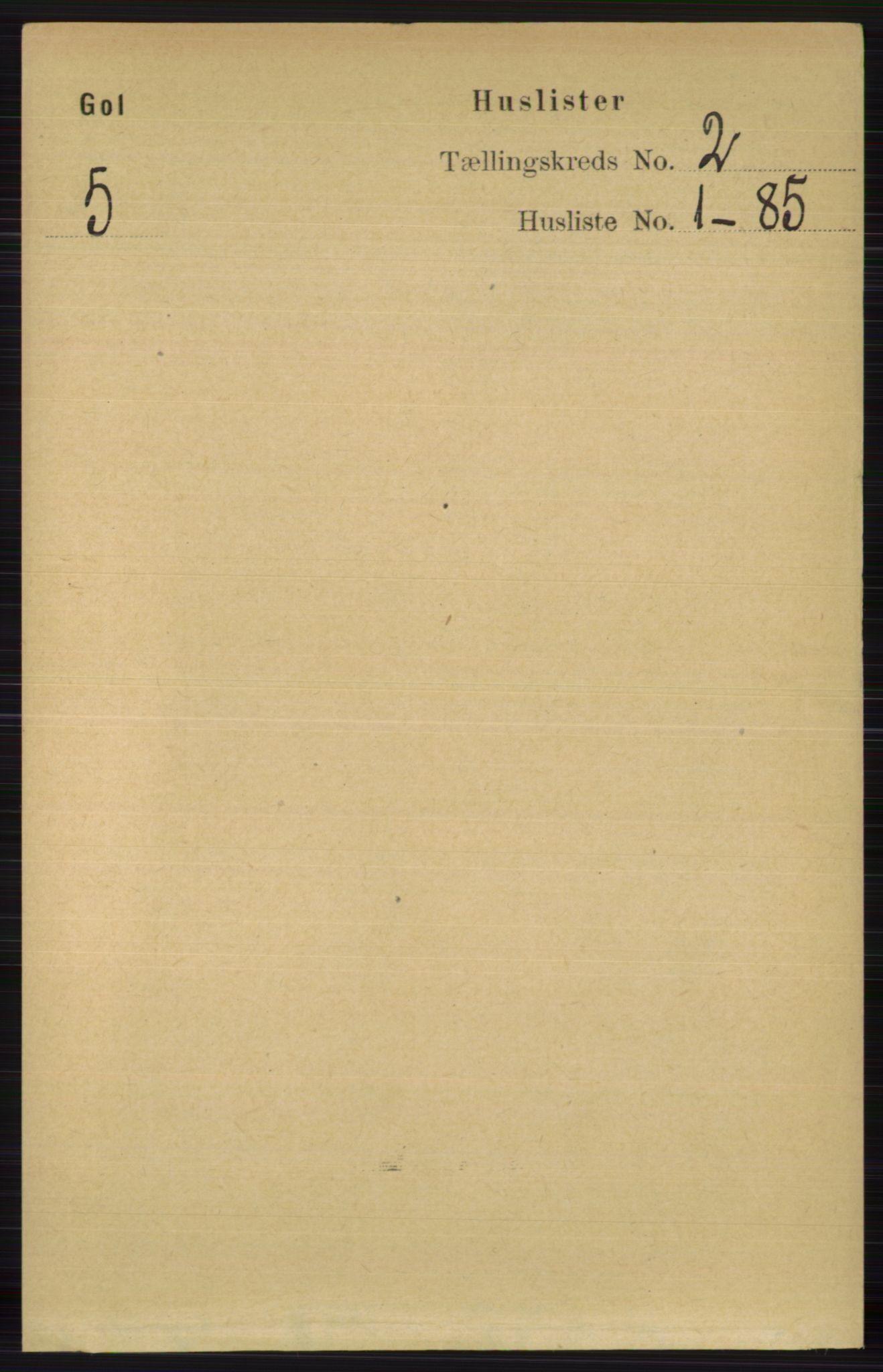 RA, Folketelling 1891 for 0617 Gol og Hemsedal herred, 1891, s. 624