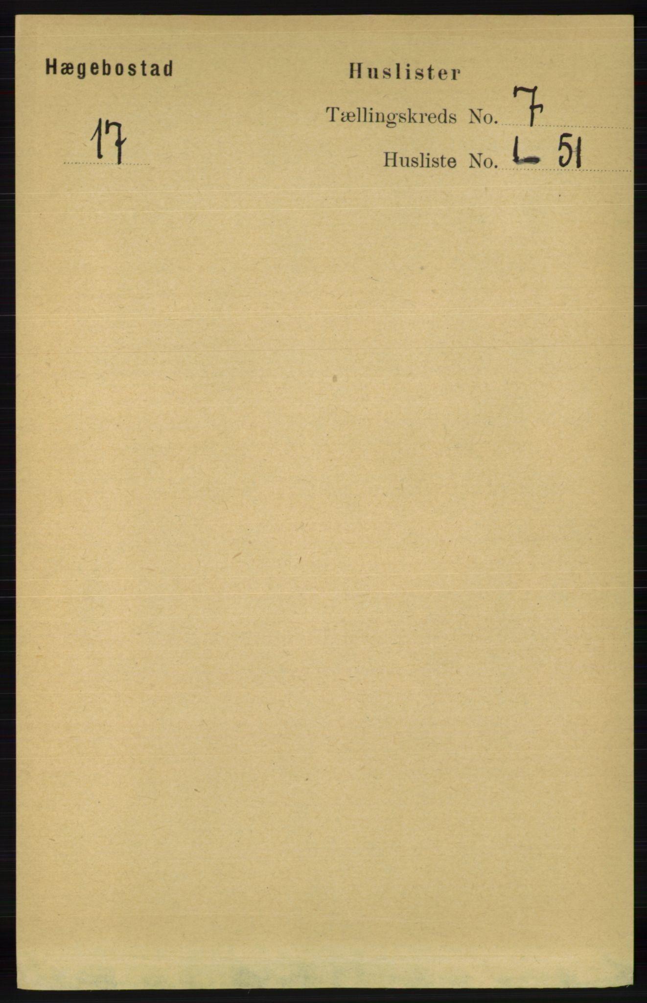 RA, Folketelling 1891 for 1034 Hægebostad herred, 1891, s. 2047