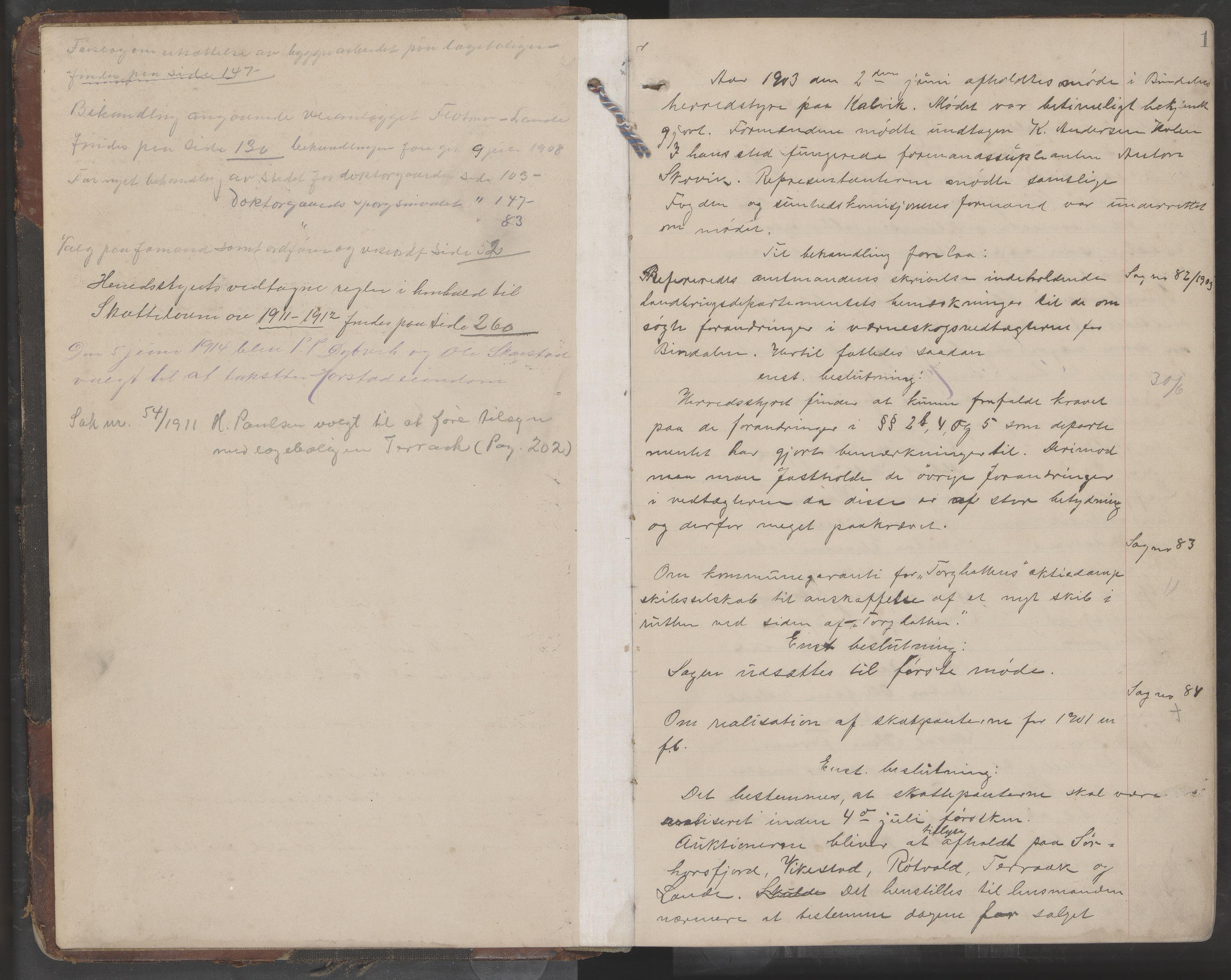 AIN, Bindal kommune. Formannskapet, A/Aa/L0000e: Møtebok, 1903-1914, s. 1