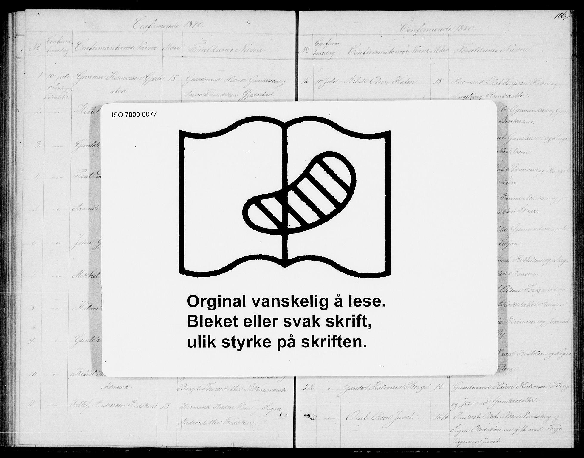 SAKO, Fyresdal kirkebøker, G/Ga/L0004: Klokkerbok nr. I 4, 1864-1892, s. 106