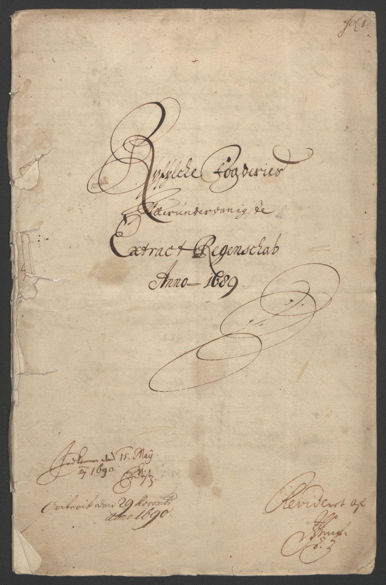 RA, Rentekammeret inntil 1814, Reviderte regnskaper, Fogderegnskap, R47/L2856: Fogderegnskap Ryfylke, 1689-1693, s. 4
