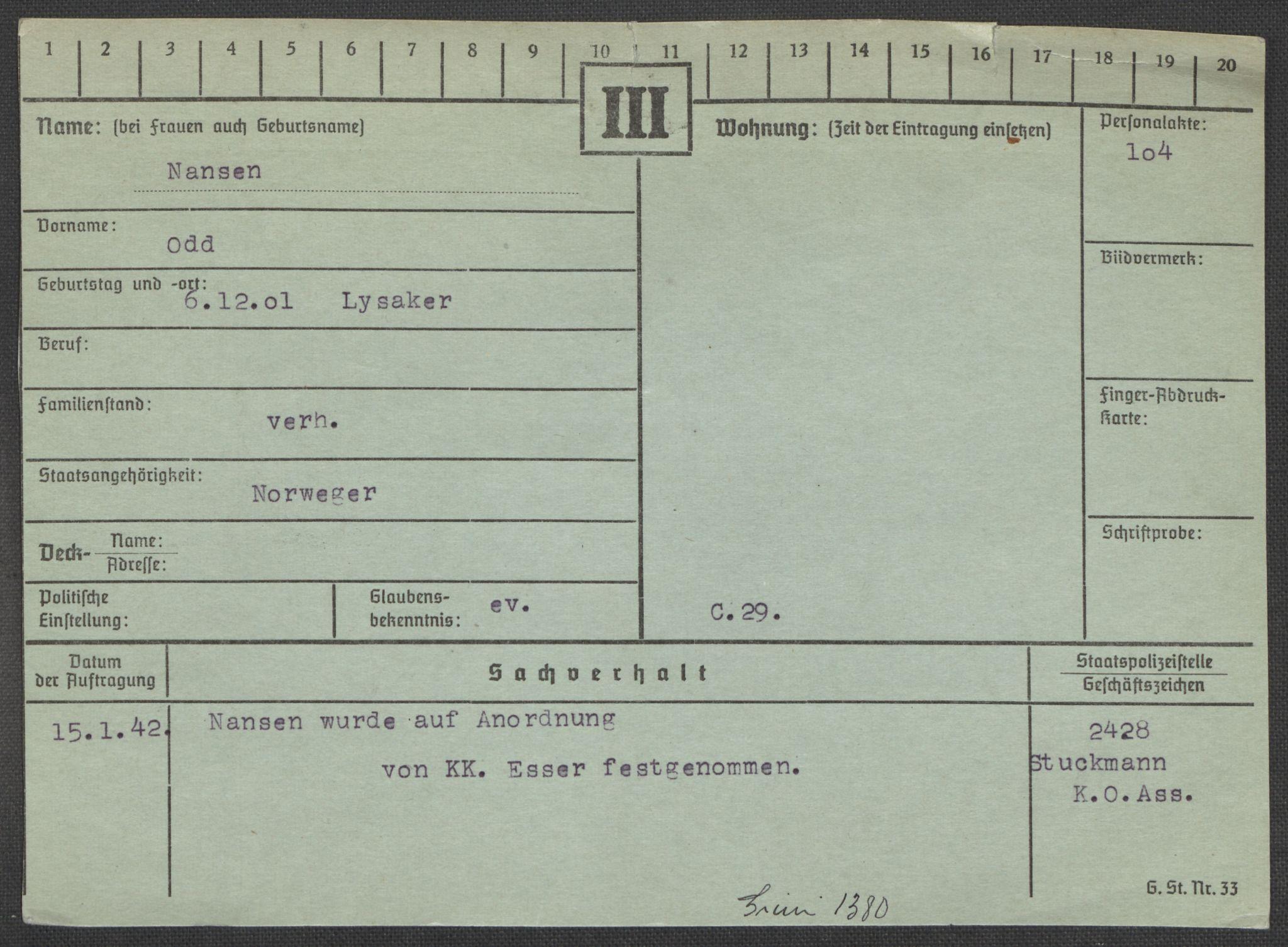 RA, Befehlshaber der Sicherheitspolizei und des SD, E/Ea/Eaa/L0007: Register over norske fanger i Møllergata 19: Lundb-N, 1940-1945, s. 986