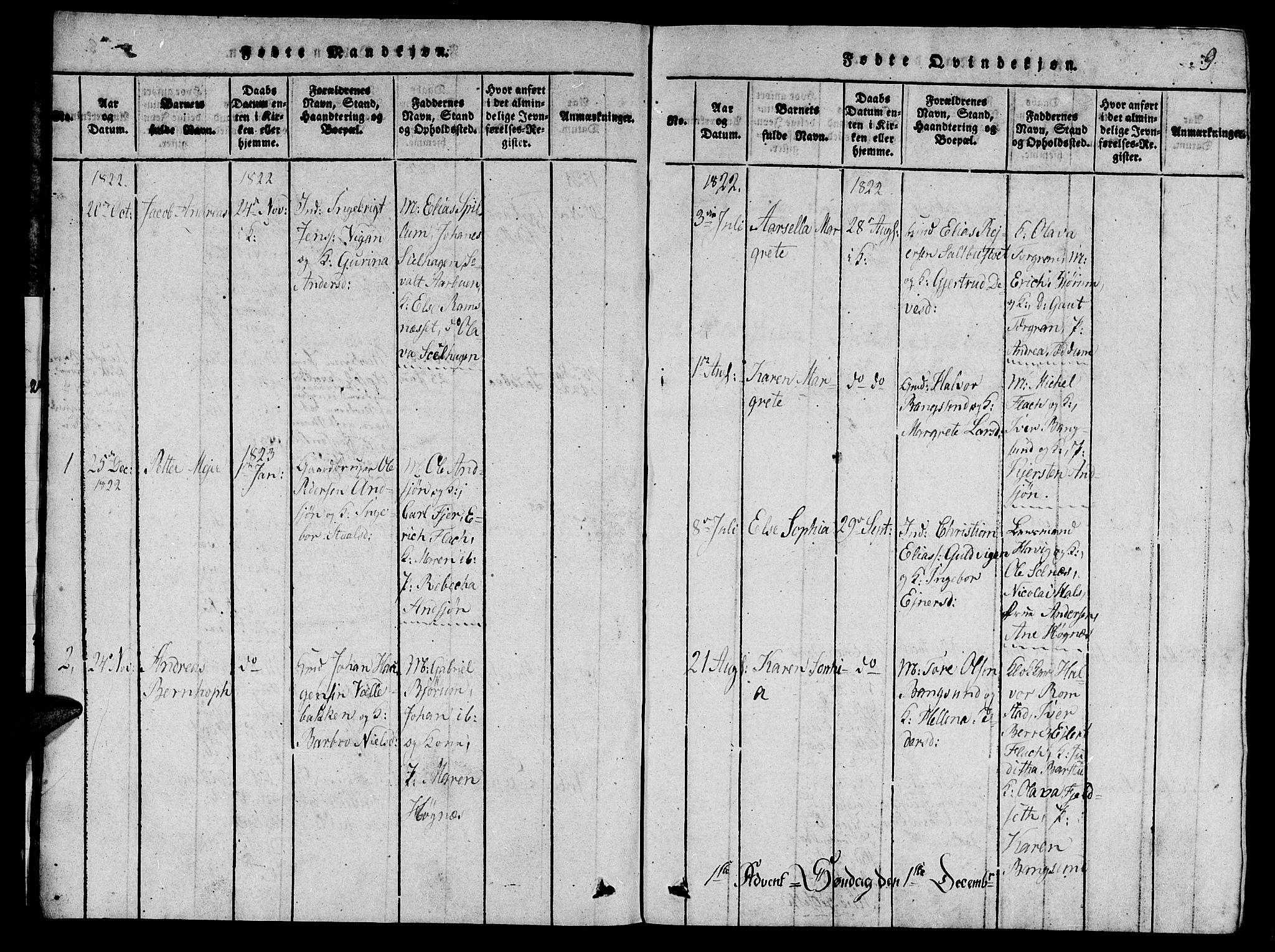 SAT, Ministerialprotokoller, klokkerbøker og fødselsregistre - Nord-Trøndelag, 770/L0588: Ministerialbok nr. 770A02, 1819-1823, s. 9
