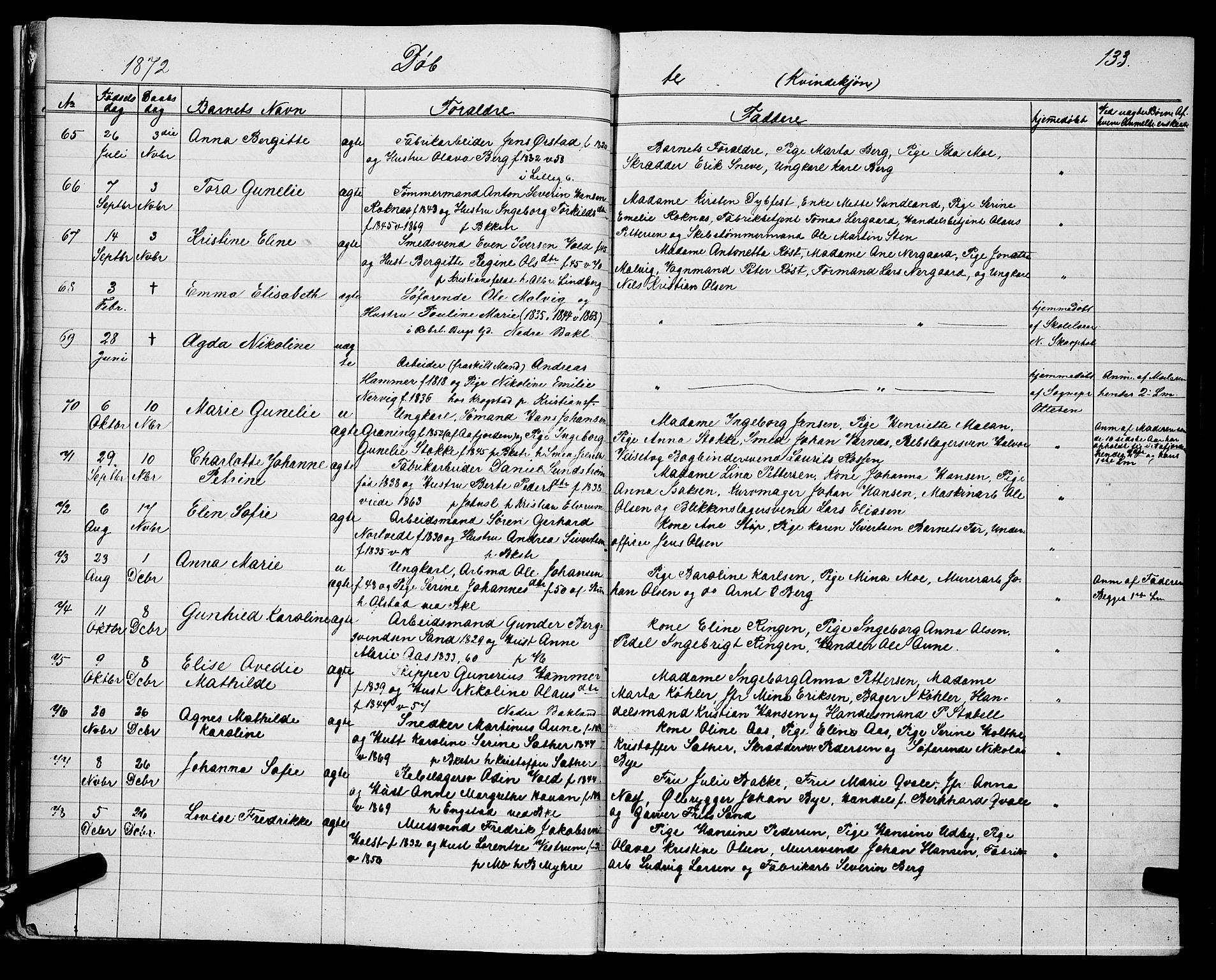 SAT, Ministerialprotokoller, klokkerbøker og fødselsregistre - Sør-Trøndelag, 604/L0220: Klokkerbok nr. 604C03, 1870-1885, s. 133