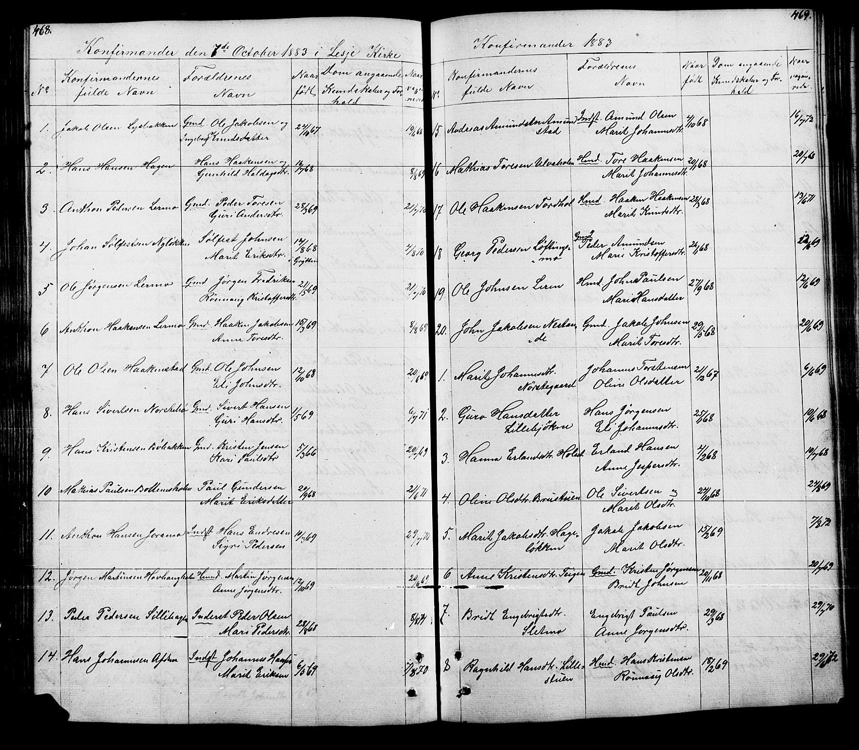 SAH, Lesja prestekontor, Klokkerbok nr. 5, 1850-1894, s. 468-469
