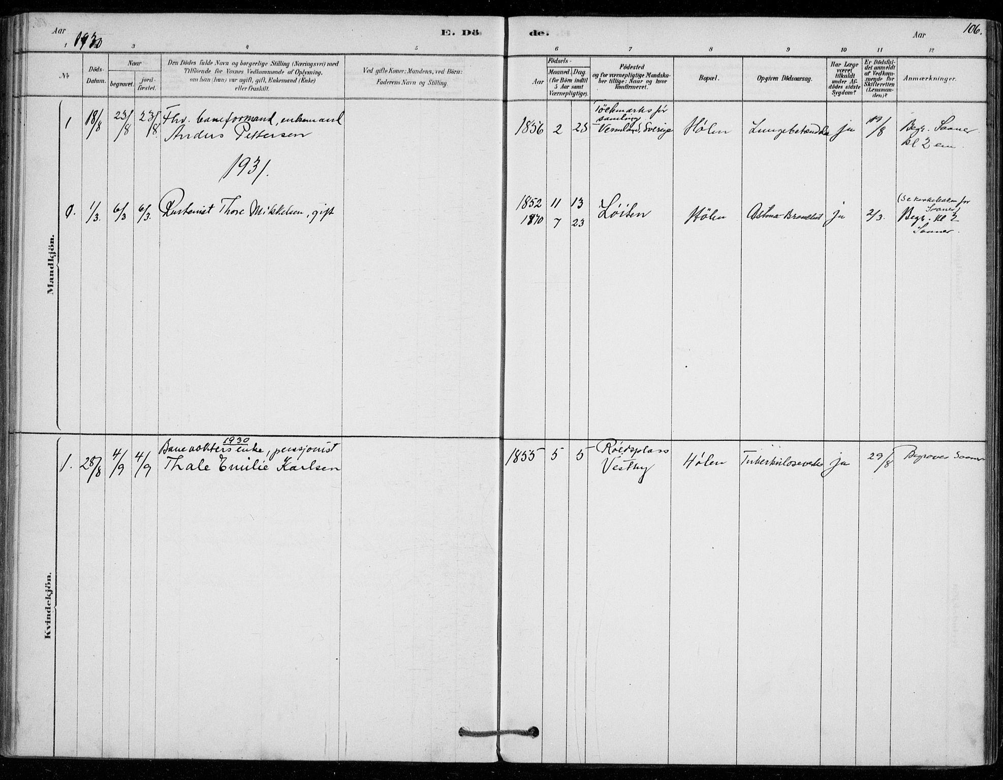SAO, Vestby prestekontor Kirkebøker, F/Fe/L0001: Ministerialbok nr. V 1, 1878-1931, s. 106
