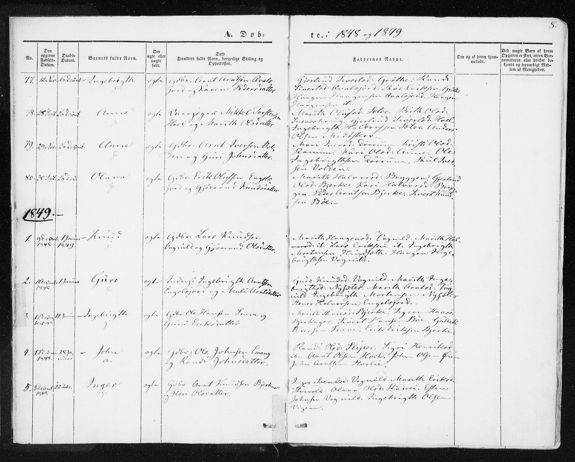 SAT, Ministerialprotokoller, klokkerbøker og fødselsregistre - Sør-Trøndelag, 678/L0899: Ministerialbok nr. 678A08, 1848-1872, s. 8