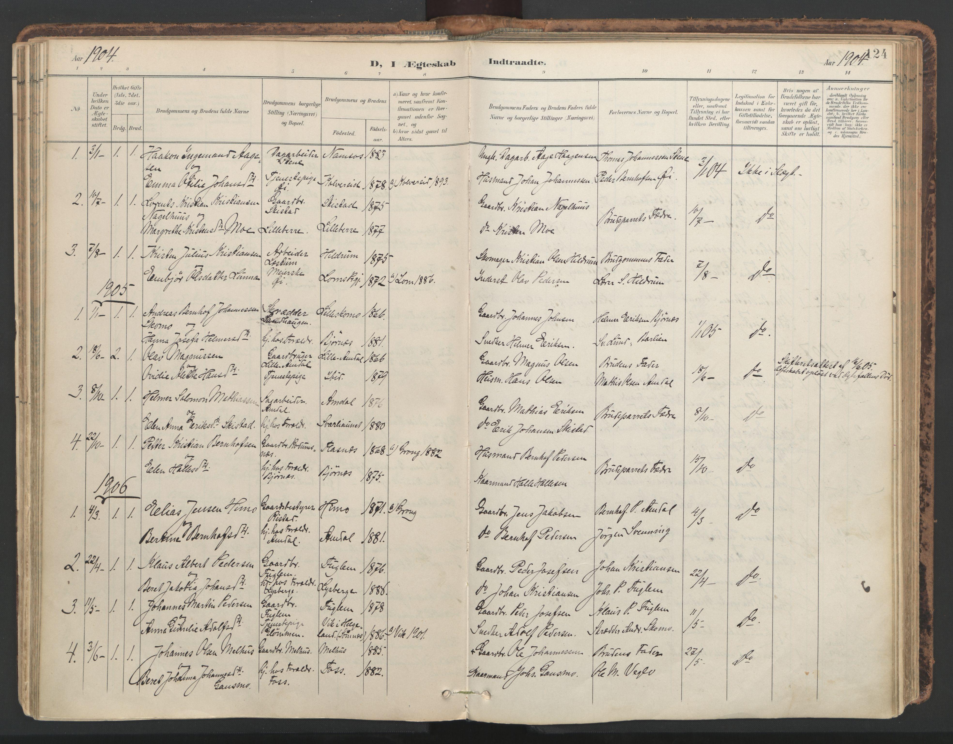 SAT, Ministerialprotokoller, klokkerbøker og fødselsregistre - Nord-Trøndelag, 764/L0556: Ministerialbok nr. 764A11, 1897-1924, s. 124