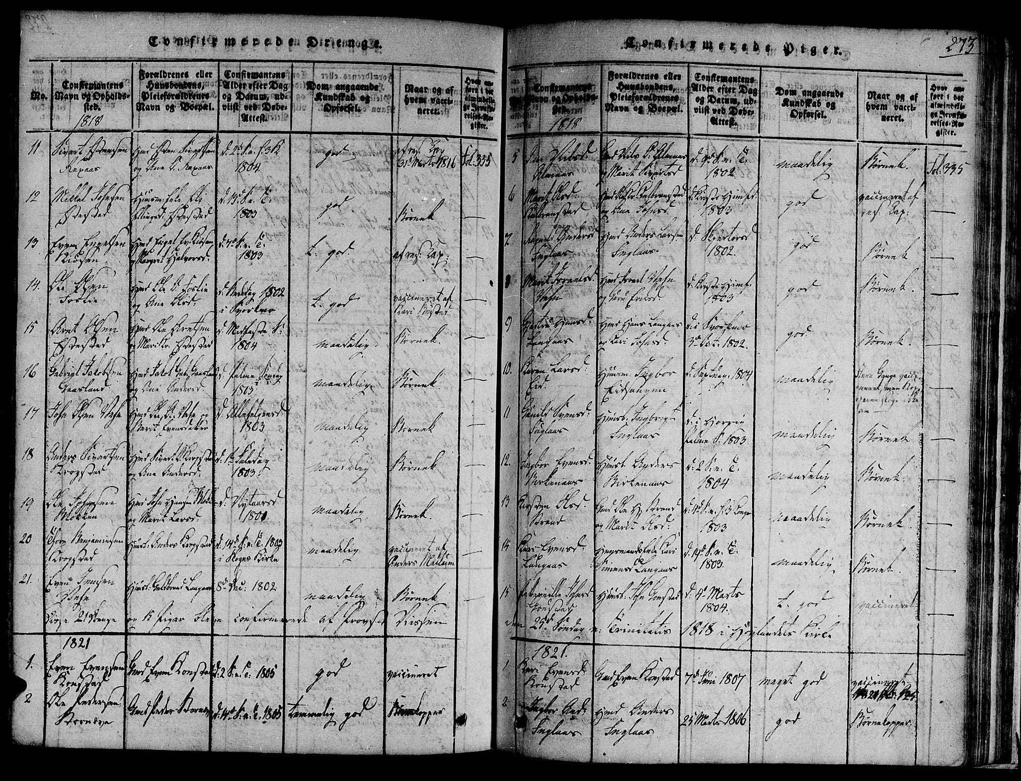 SAT, Ministerialprotokoller, klokkerbøker og fødselsregistre - Sør-Trøndelag, 691/L1068: Ministerialbok nr. 691A03 /4, 1816-1826, s. 273
