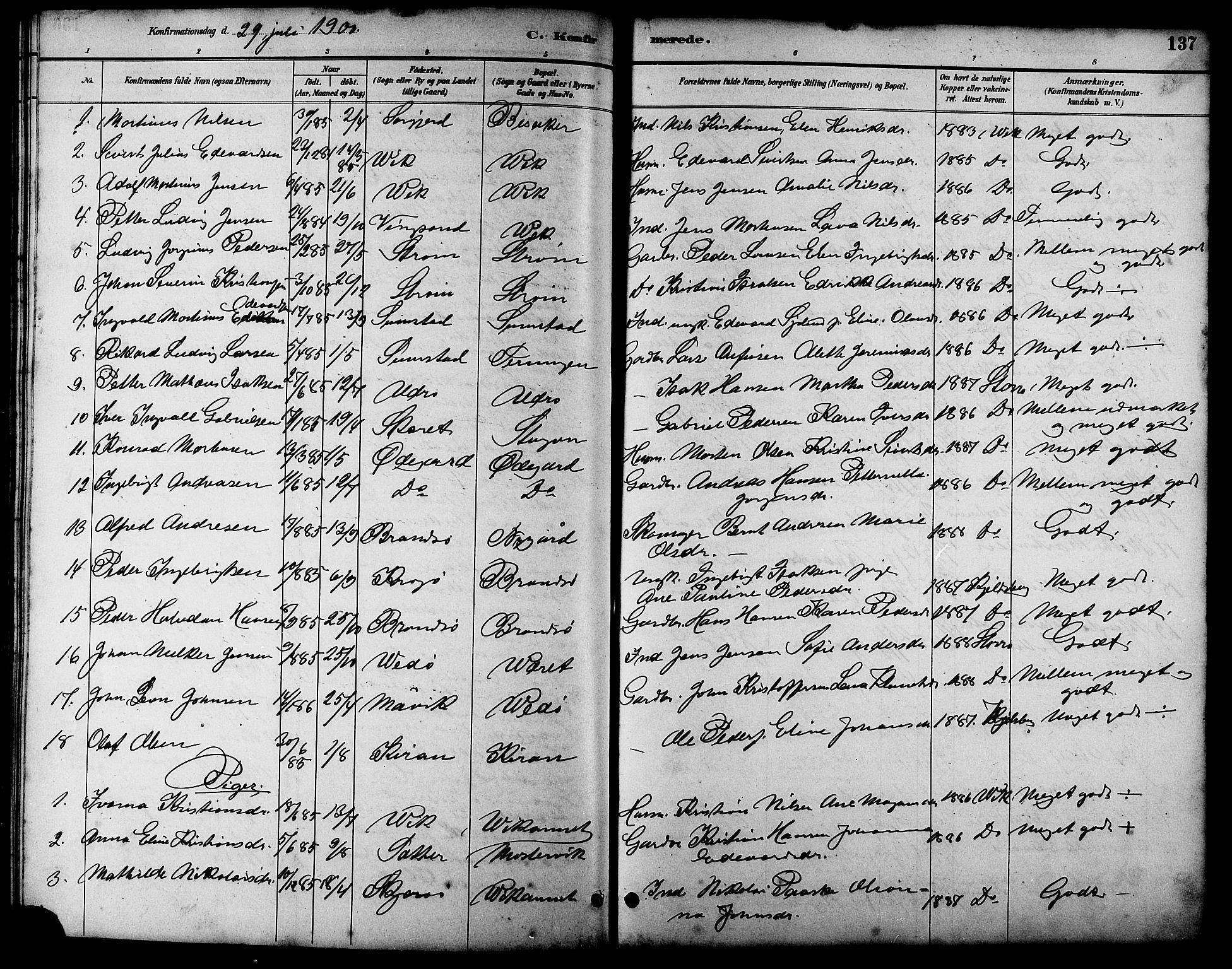 SAT, Ministerialprotokoller, klokkerbøker og fødselsregistre - Sør-Trøndelag, 657/L0716: Klokkerbok nr. 657C03, 1889-1904, s. 137