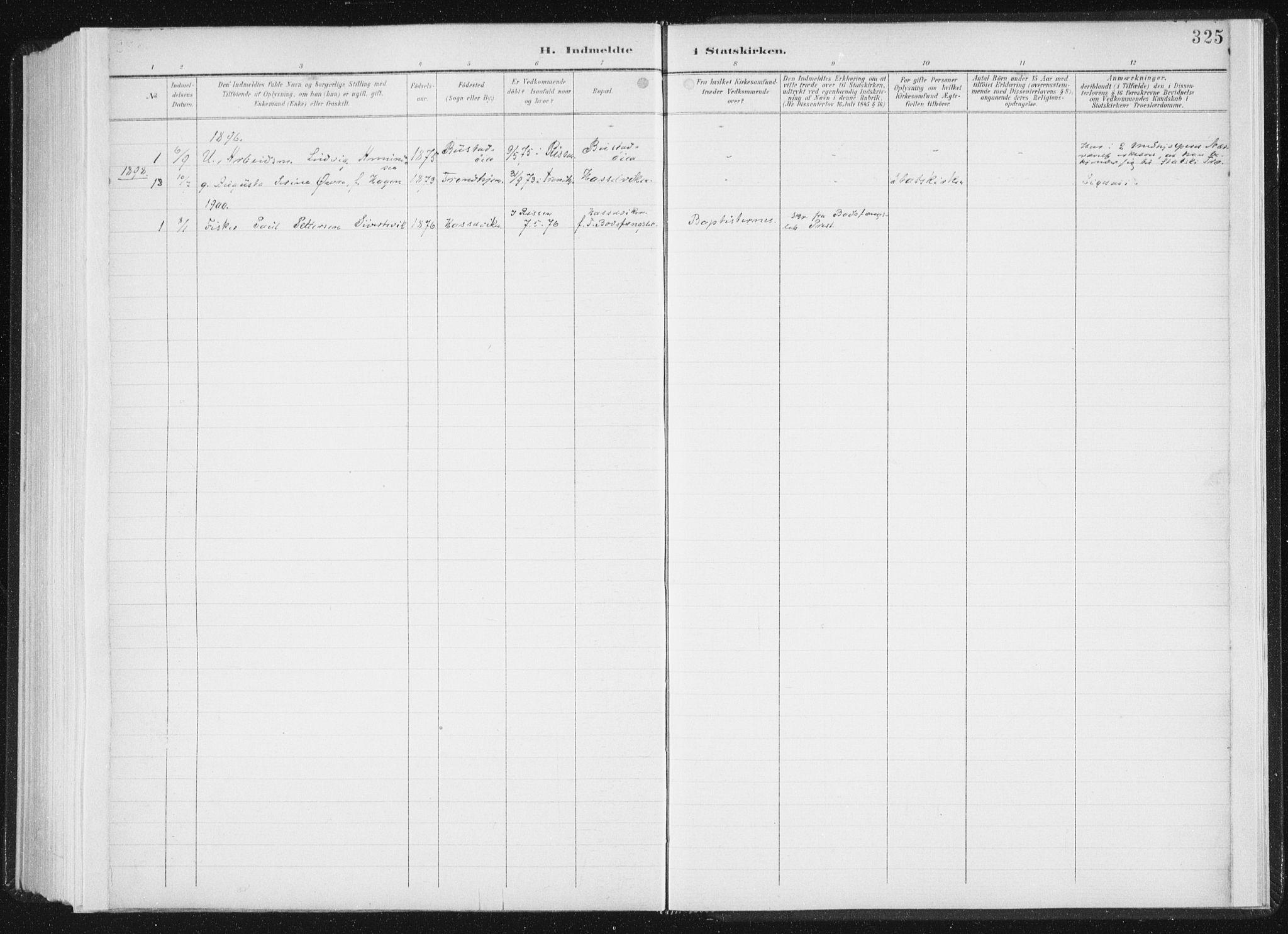SAT, Ministerialprotokoller, klokkerbøker og fødselsregistre - Sør-Trøndelag, 647/L0635: Ministerialbok nr. 647A02, 1896-1911, s. 325