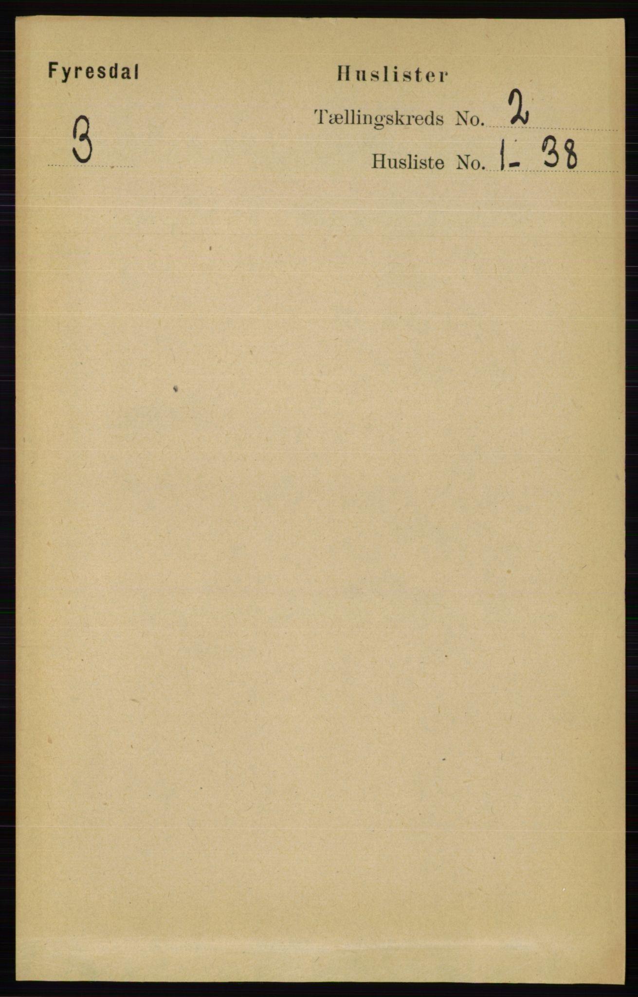 RA, Folketelling 1891 for 0831 Fyresdal herred, 1891, s. 255