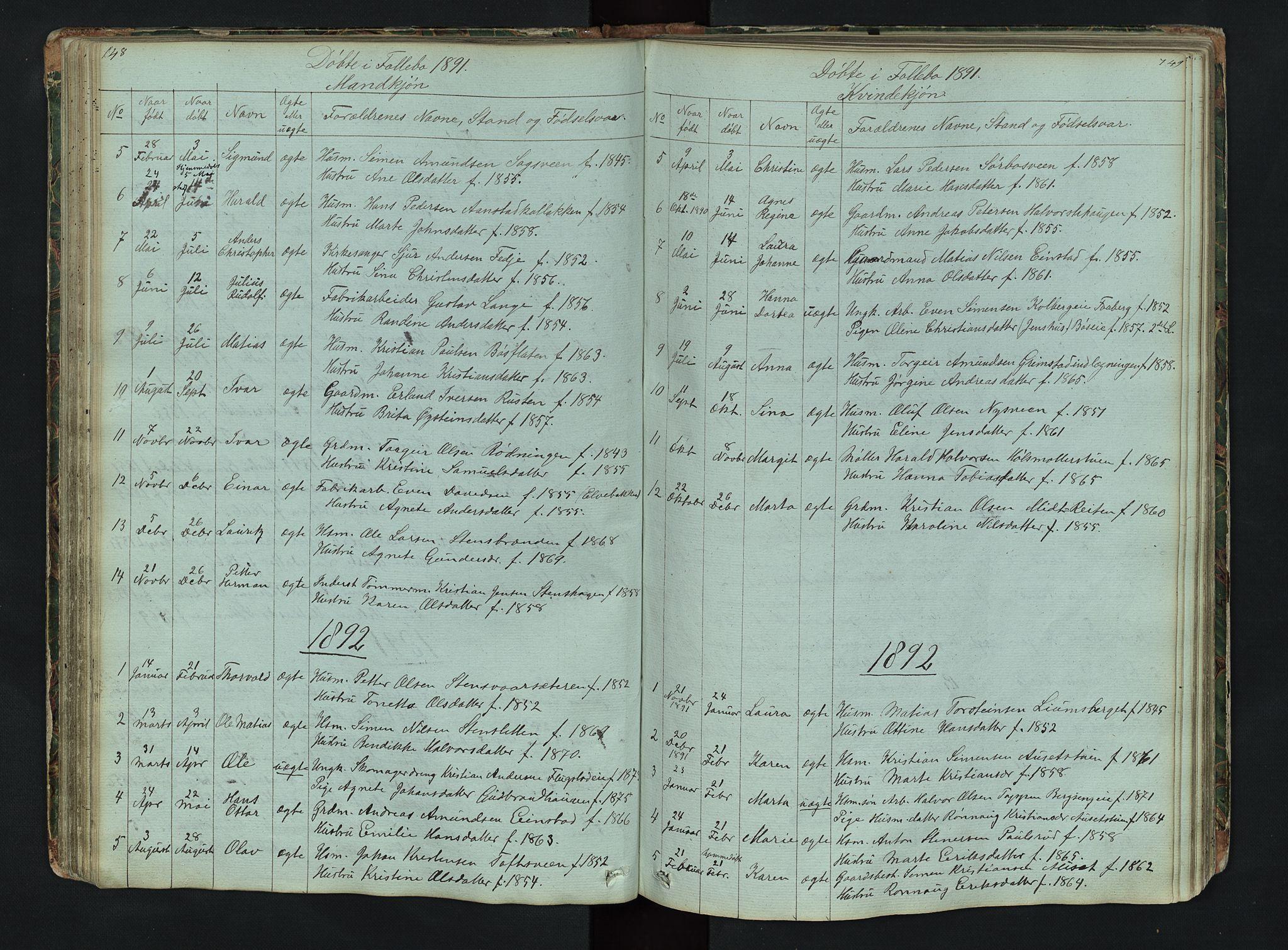 SAH, Gausdal prestekontor, Klokkerbok nr. 6, 1846-1893, s. 148-149