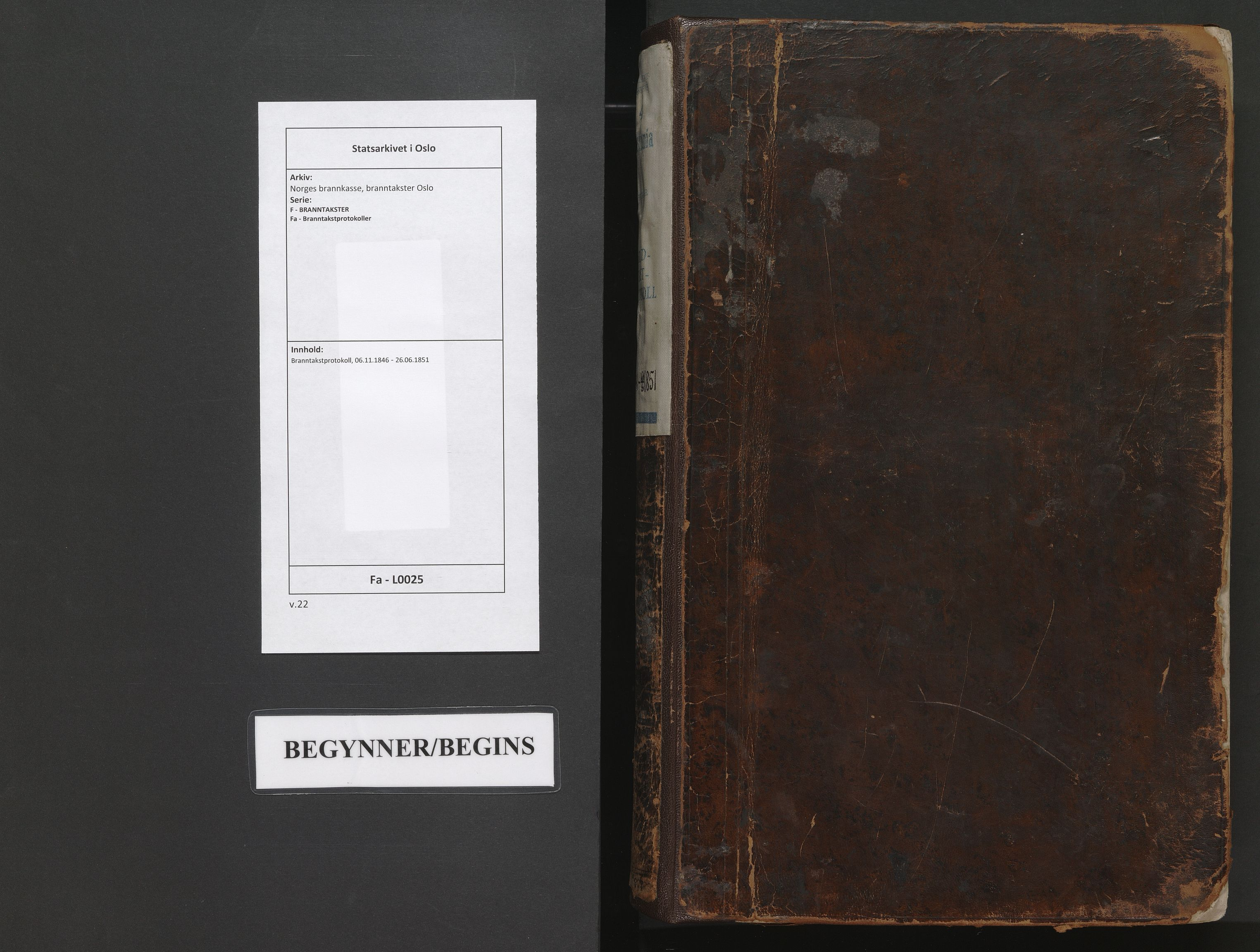 SAO, Norges brannkasse, branntakster Oslo, F/Fa/L0025: Branntakstprotokoll, 1846-1851