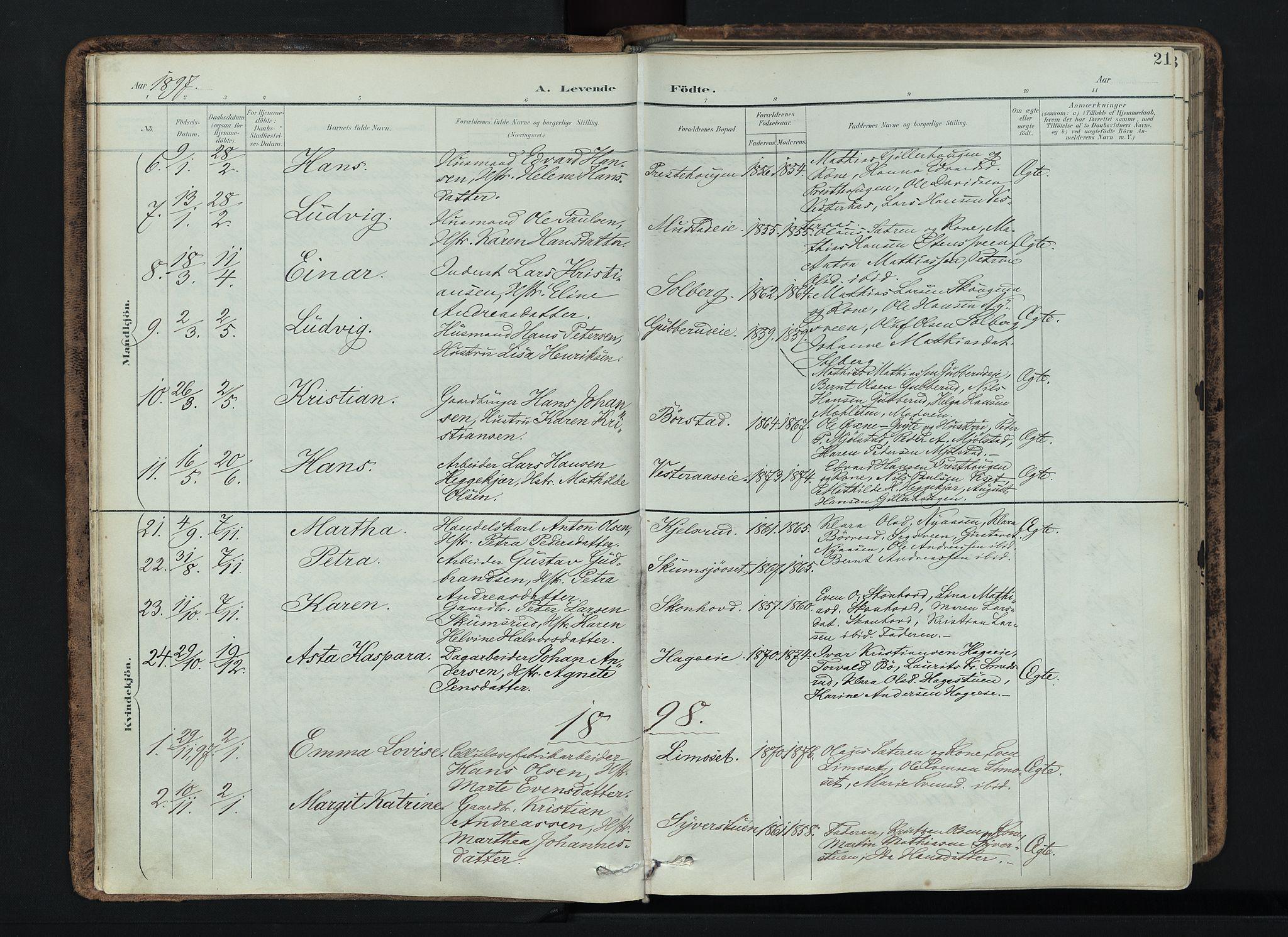 SAH, Vardal prestekontor, H/Ha/Haa/L0019: Ministerialbok nr. 19, 1893-1907, s. 21