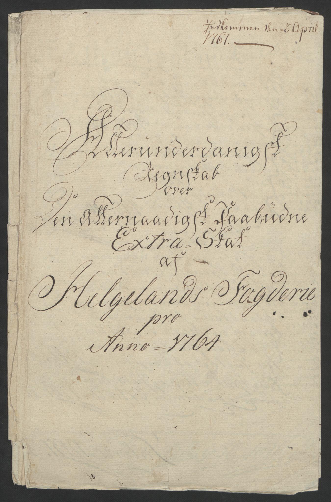 RA, Rentekammeret inntil 1814, Reviderte regnskaper, Fogderegnskap, R65/L4573: Ekstraskatten Helgeland, 1762-1772, s. 48
