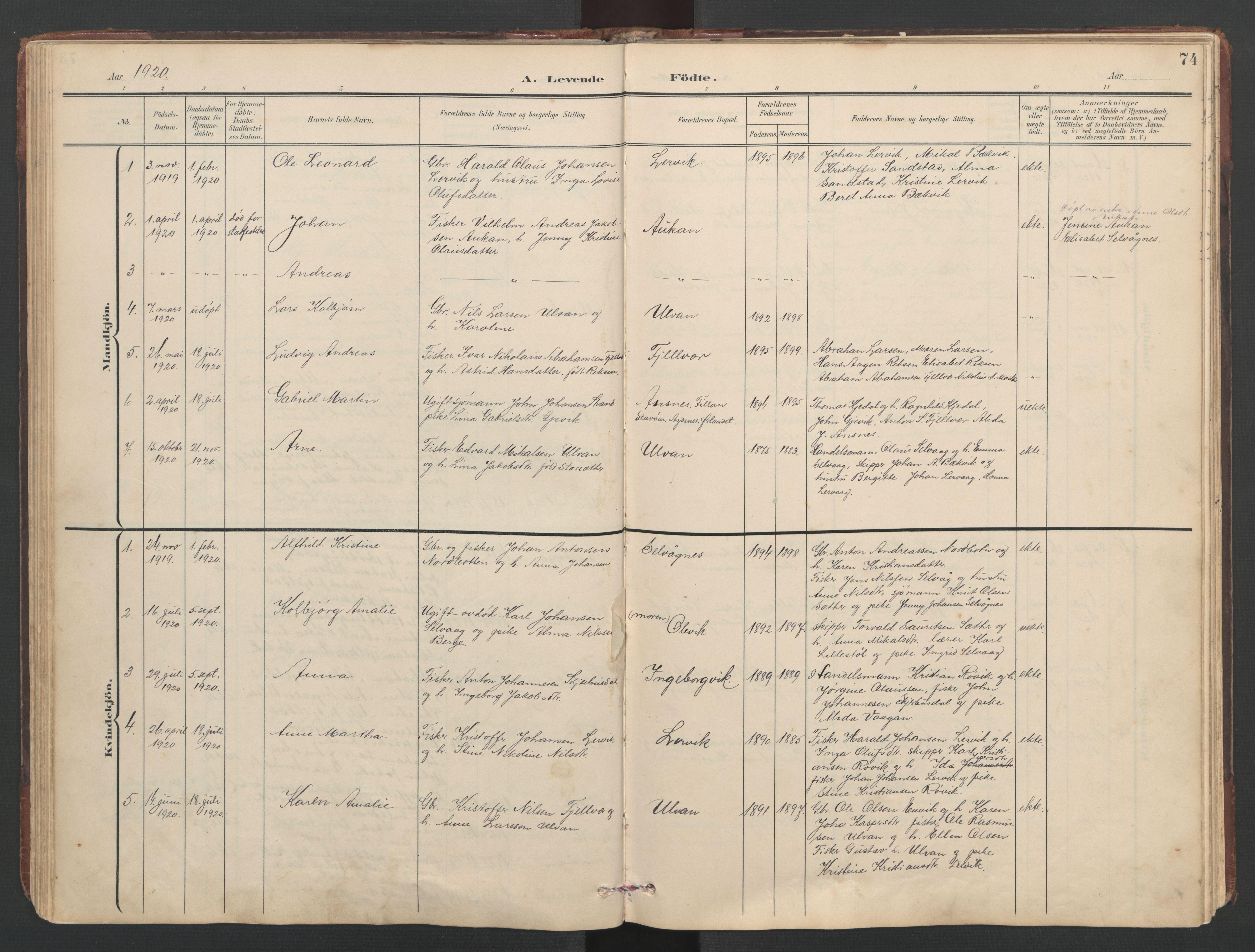 SAT, Ministerialprotokoller, klokkerbøker og fødselsregistre - Sør-Trøndelag, 638/L0571: Klokkerbok nr. 638C03, 1901-1930, s. 74