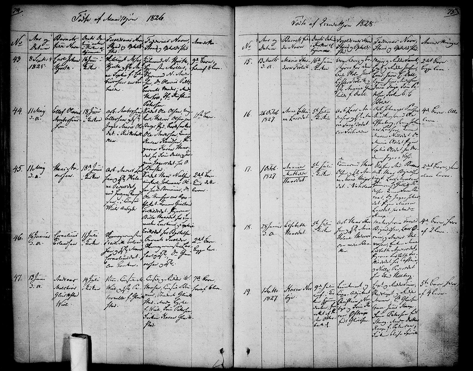 SAO, Halden prestekontor Kirkebøker, F/Fa/L0004: Ministerialbok nr. I 4, 1823-1834, s. 74-75