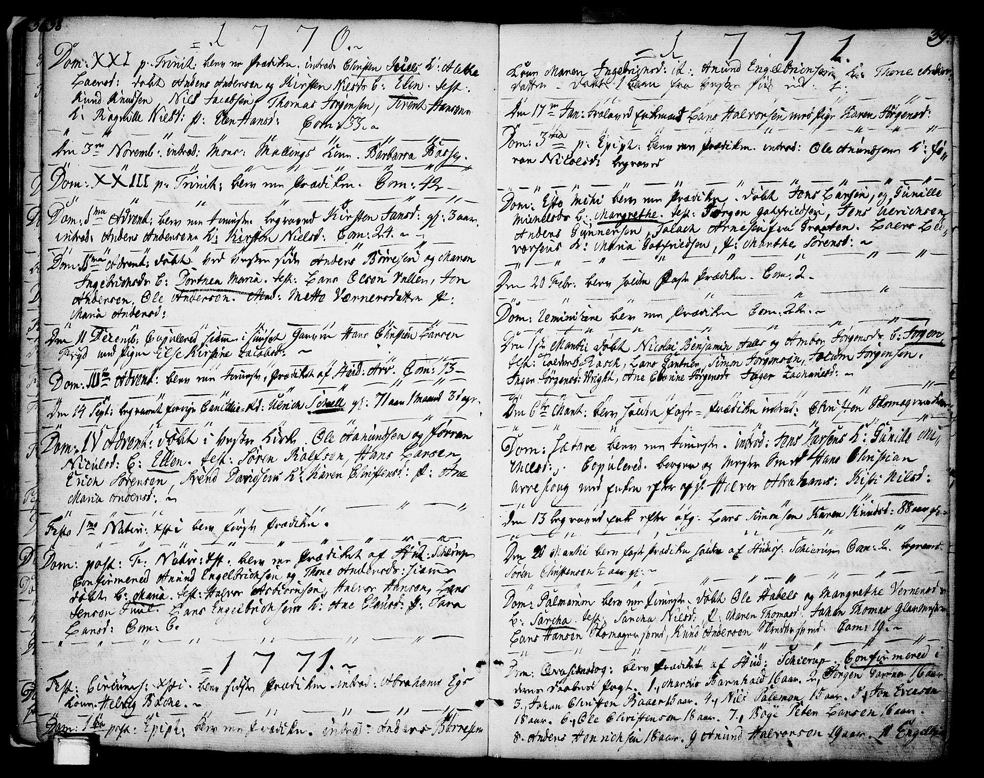 SAKO, Porsgrunn kirkebøker , F/Fa/L0002: Ministerialbok nr. 2, 1764-1814, s. 38-39