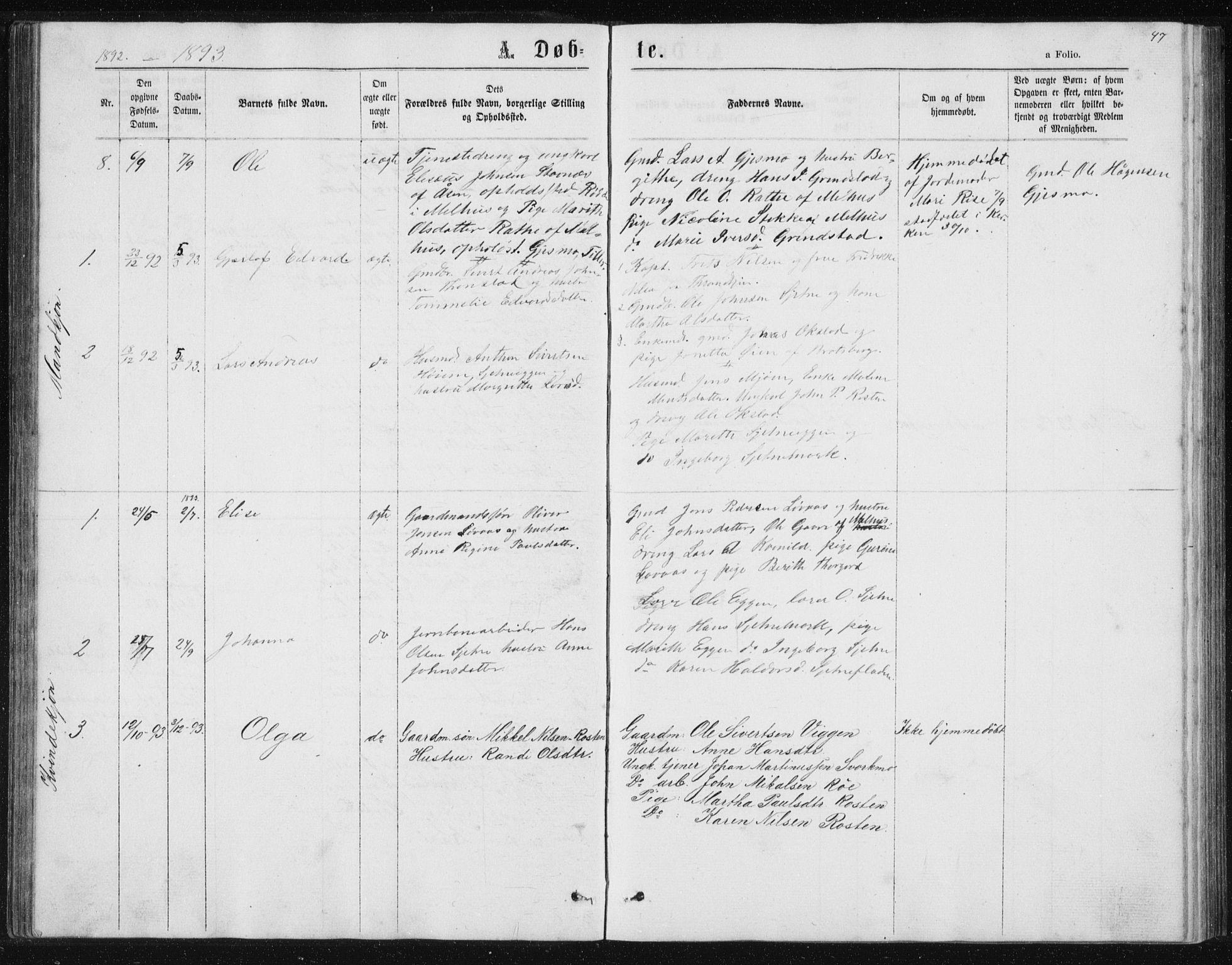 SAT, Ministerialprotokoller, klokkerbøker og fødselsregistre - Sør-Trøndelag, 621/L0459: Klokkerbok nr. 621C02, 1866-1895, s. 47