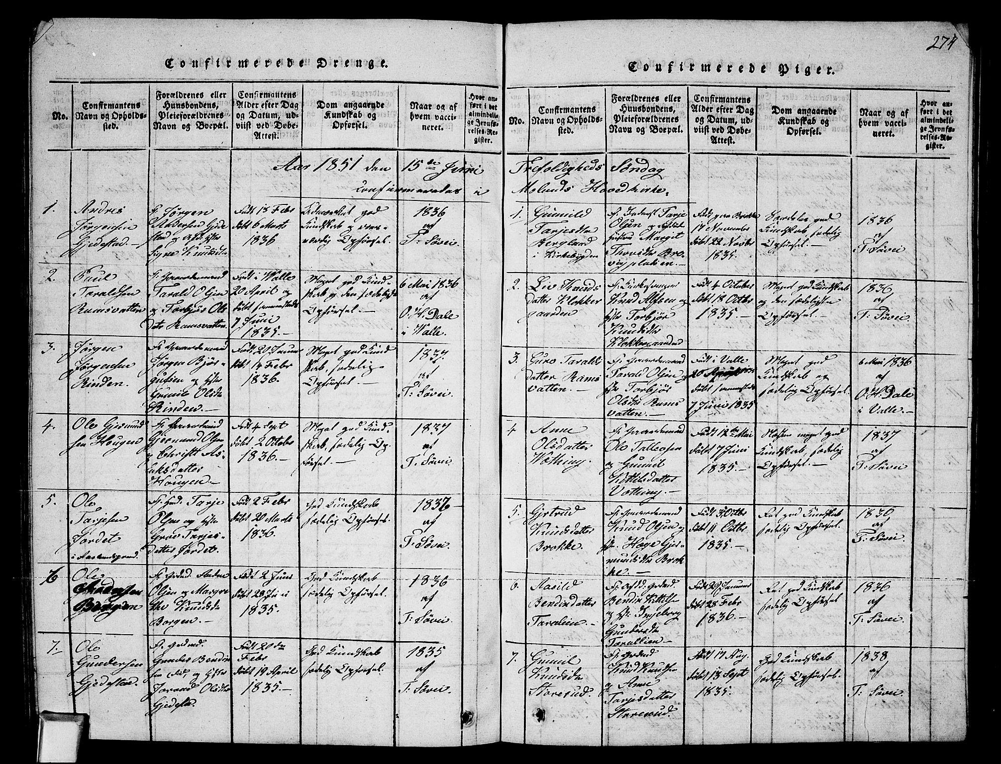 SAKO, Fyresdal kirkebøker, G/Ga/L0002: Klokkerbok nr. I 2, 1815-1857, s. 274