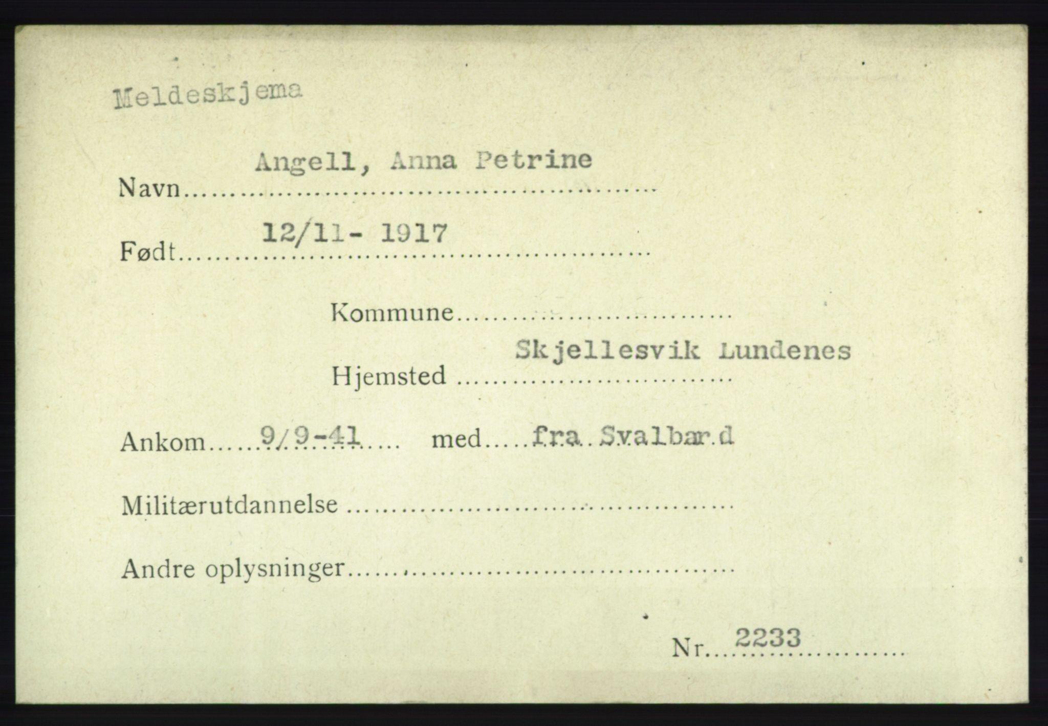 NHM, Forsvarets Overkommando. 2. kontor. Arkiv 8.1. Mottakersentralen FDE og FO.II, P/Pa/L0002: Kortsamling, 1940-1945, s. 1