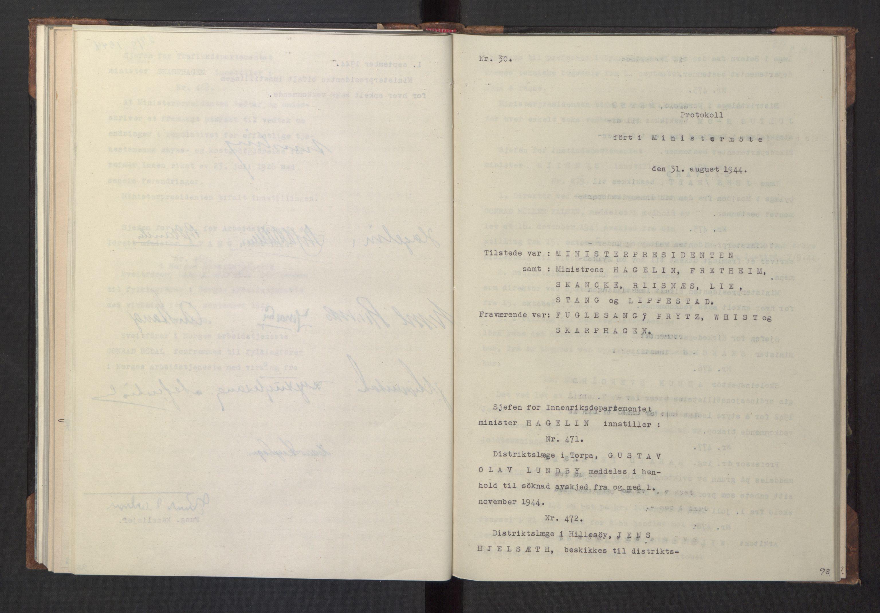RA, NS-administrasjonen 1940-1945 (Statsrådsekretariatet, de kommisariske statsråder mm), D/Da/L0005: Protokoll fra ministermøter, 1944, s. 92b-93a