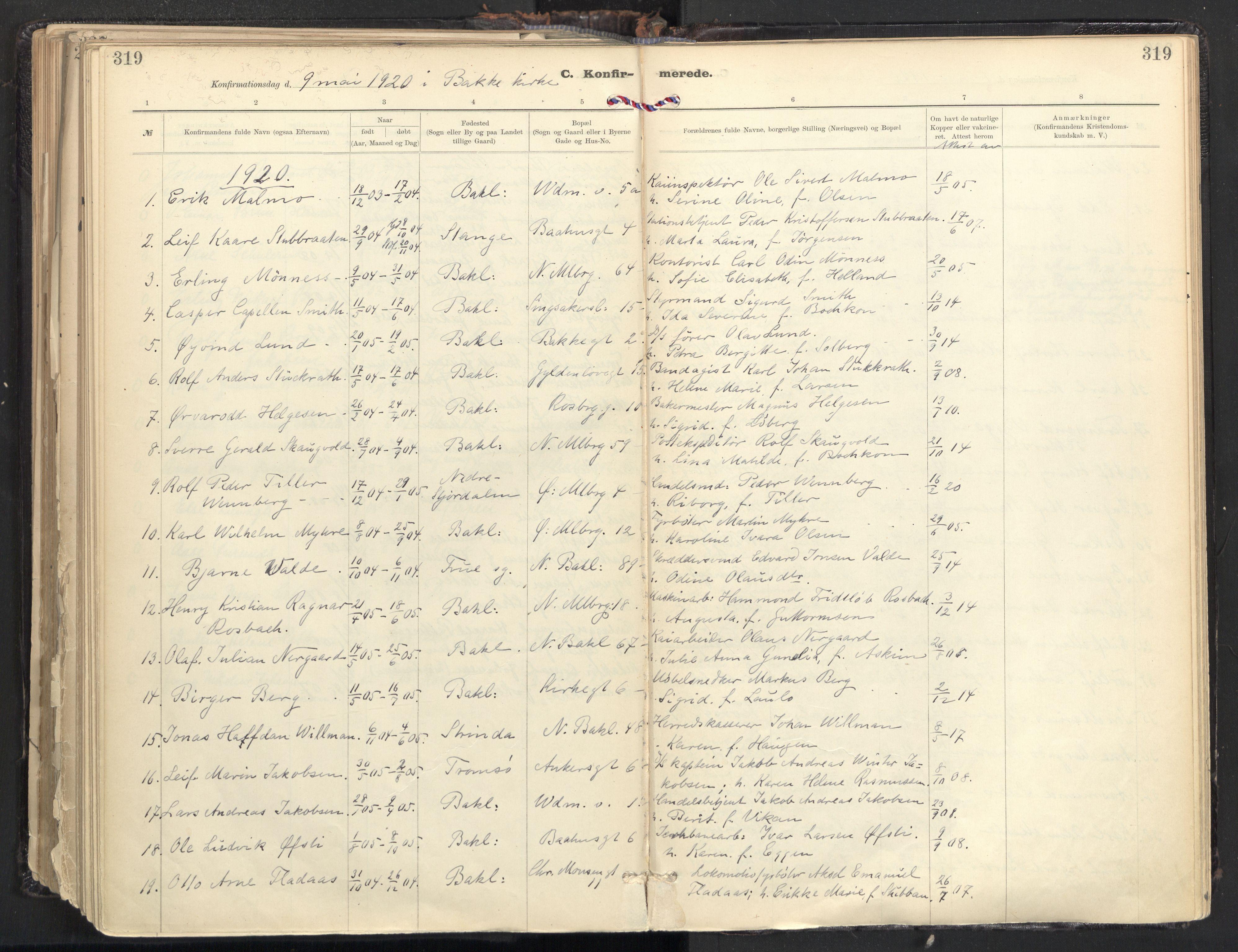 SAT, Ministerialprotokoller, klokkerbøker og fødselsregistre - Sør-Trøndelag, 604/L0205: Ministerialbok nr. 604A25, 1917-1932, s. 319