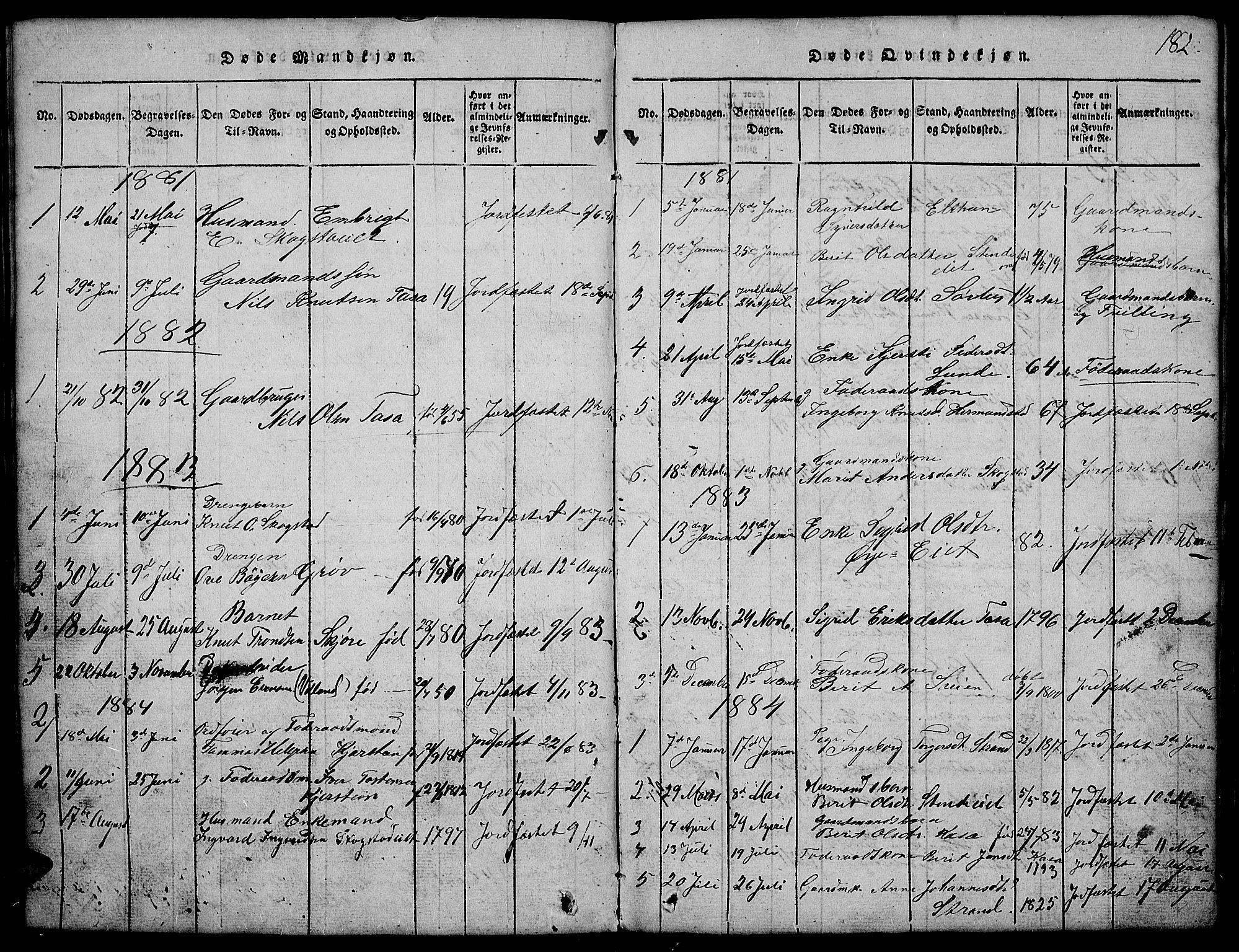 SAH, Vang prestekontor, Valdres, Klokkerbok nr. 2, 1814-1889, s. 182