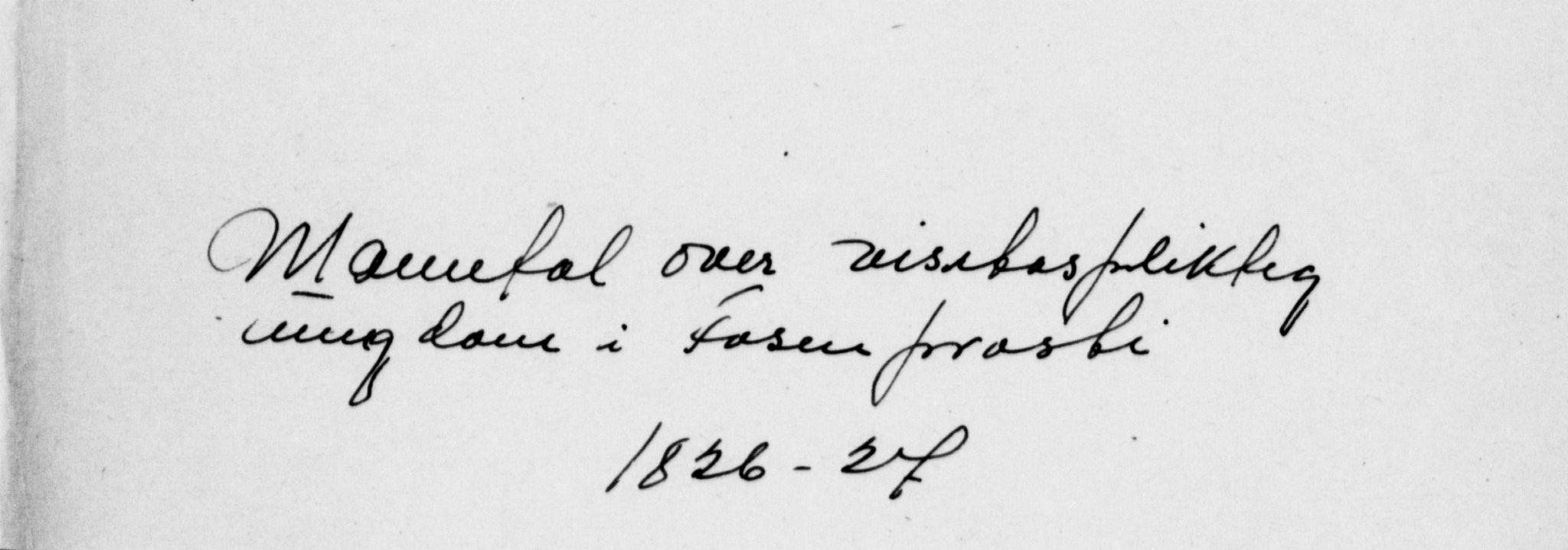 SAT, Fosen prosti*, 1826-1827, s. upaginert