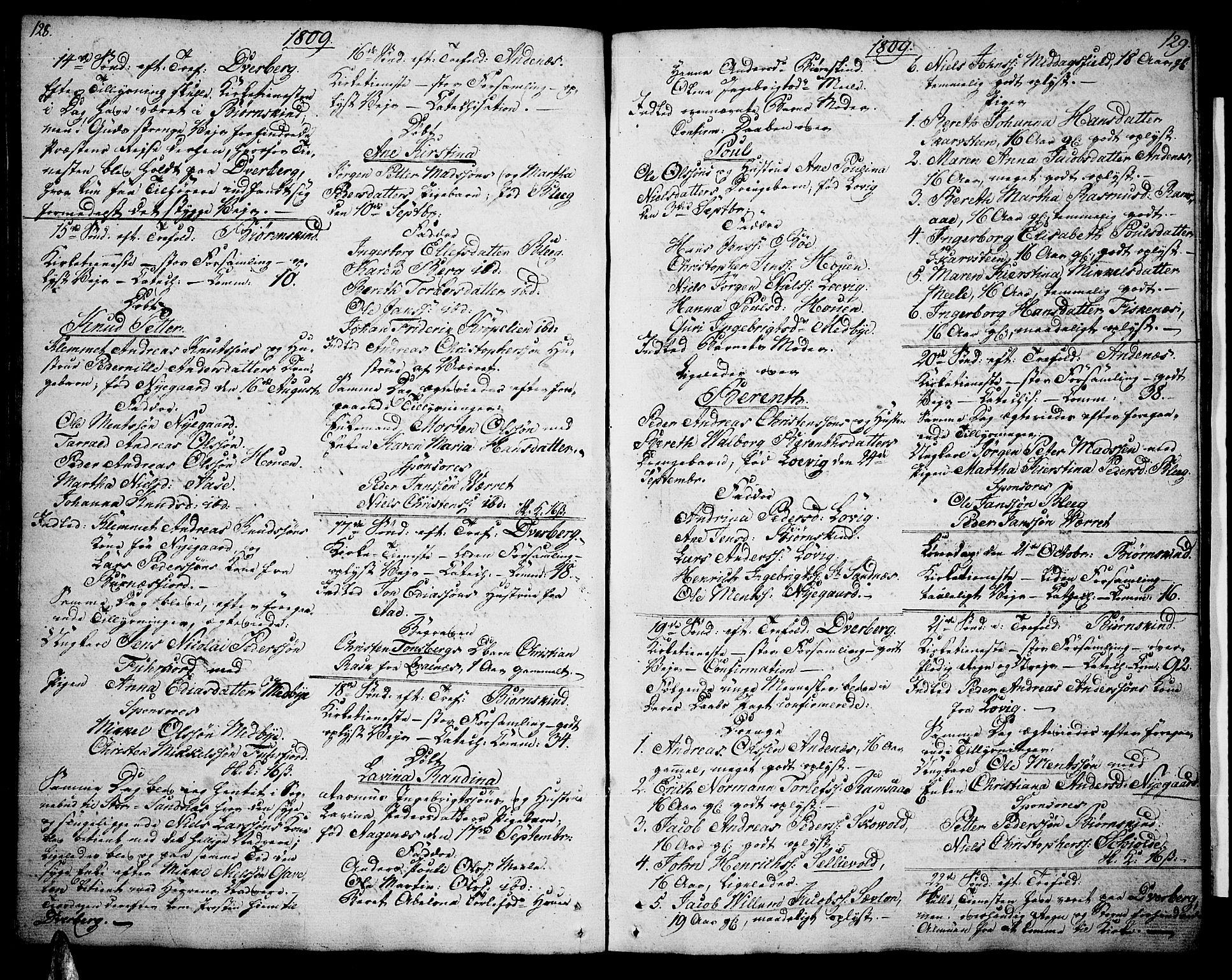 SAT, Ministerialprotokoller, klokkerbøker og fødselsregistre - Nordland, 897/L1394: Ministerialbok nr. 897A02, 1788-1820, s. 128-129