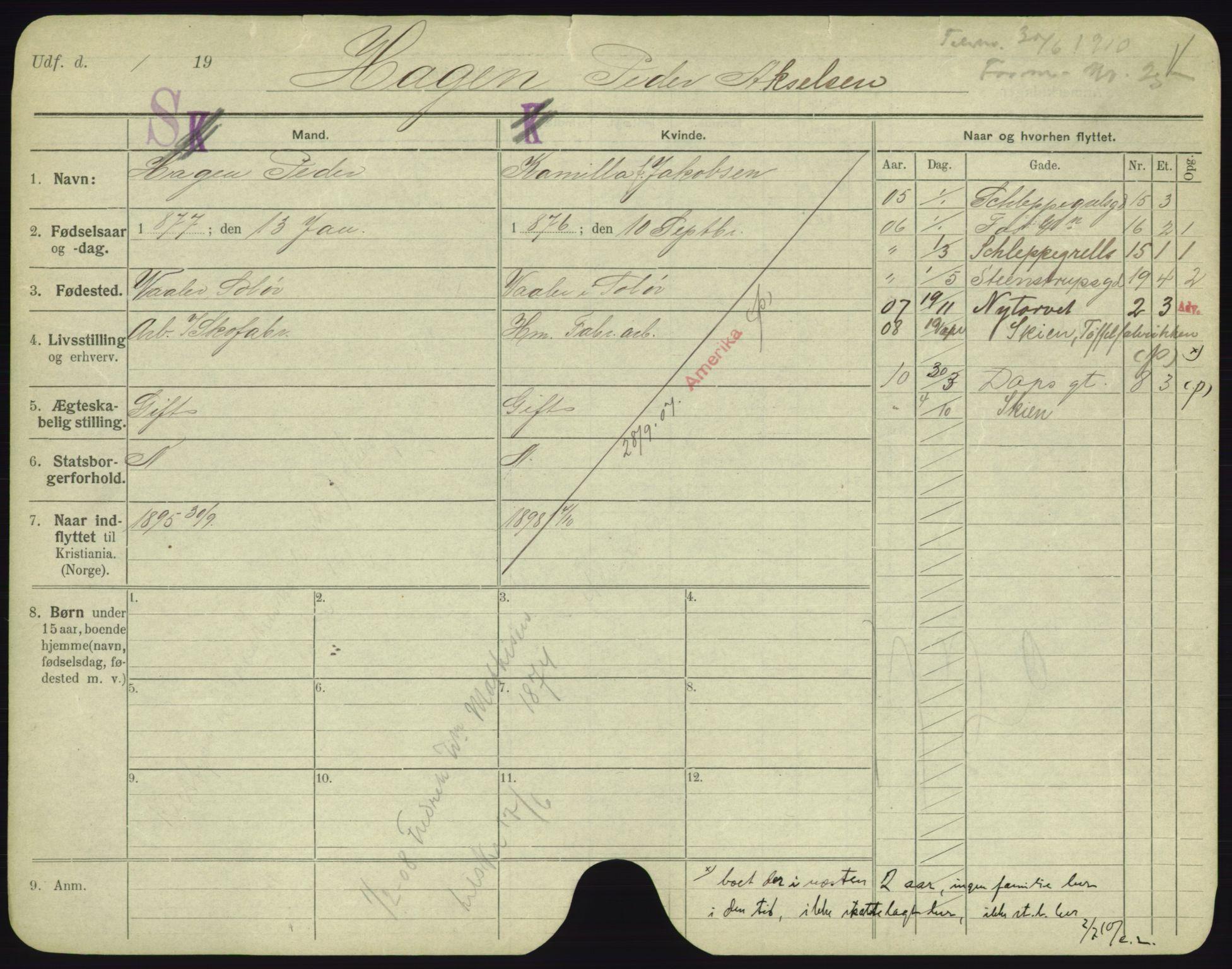SAO, Oslo folkeregister, Registerkort, F/Fa/Fac/L0003: Menn, 1906-1914, s. 1051a