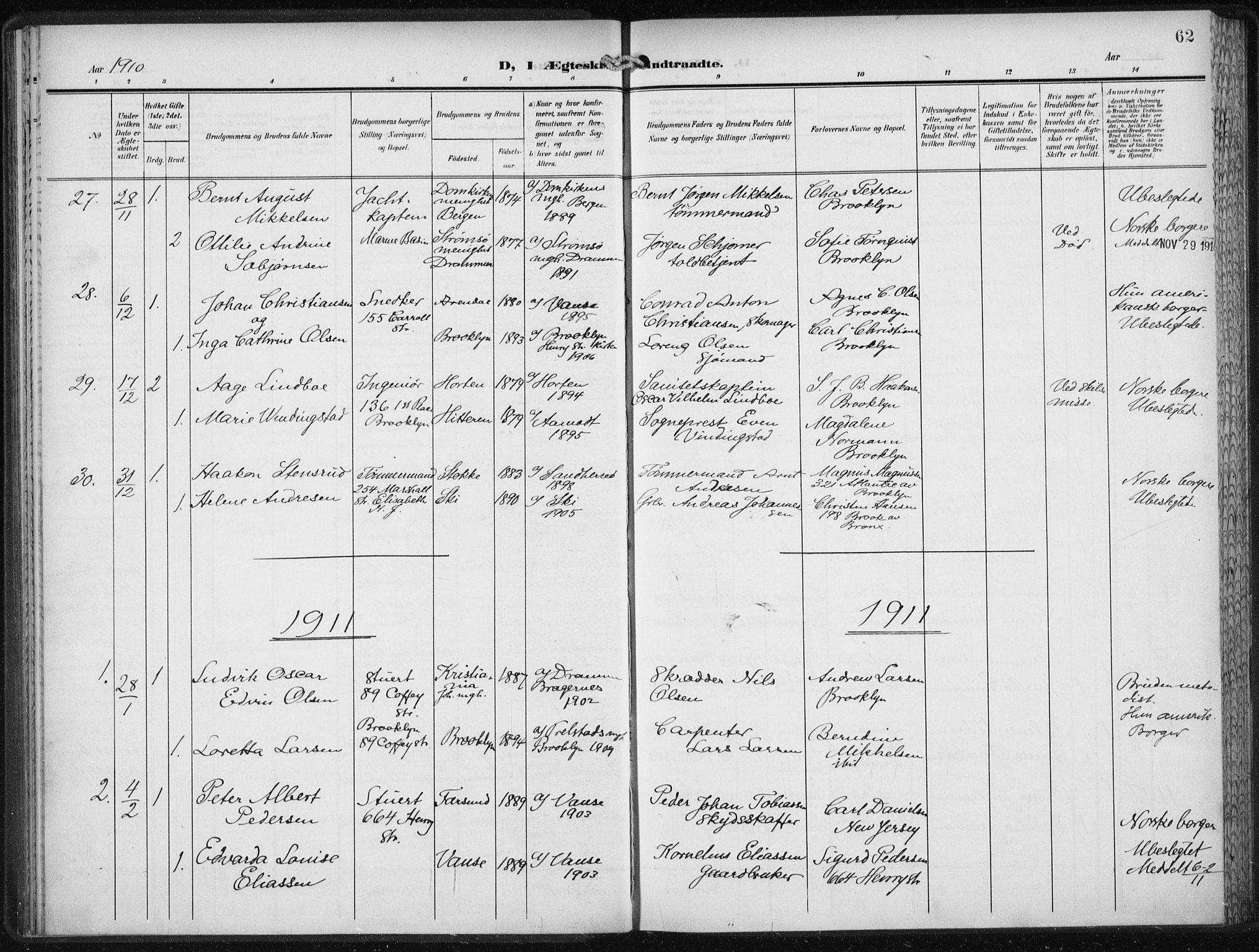 SAB, Den Norske Sjømannsmisjon i utlandet*, Ministerialbok nr. A 6, 1909-1914, s. 62
