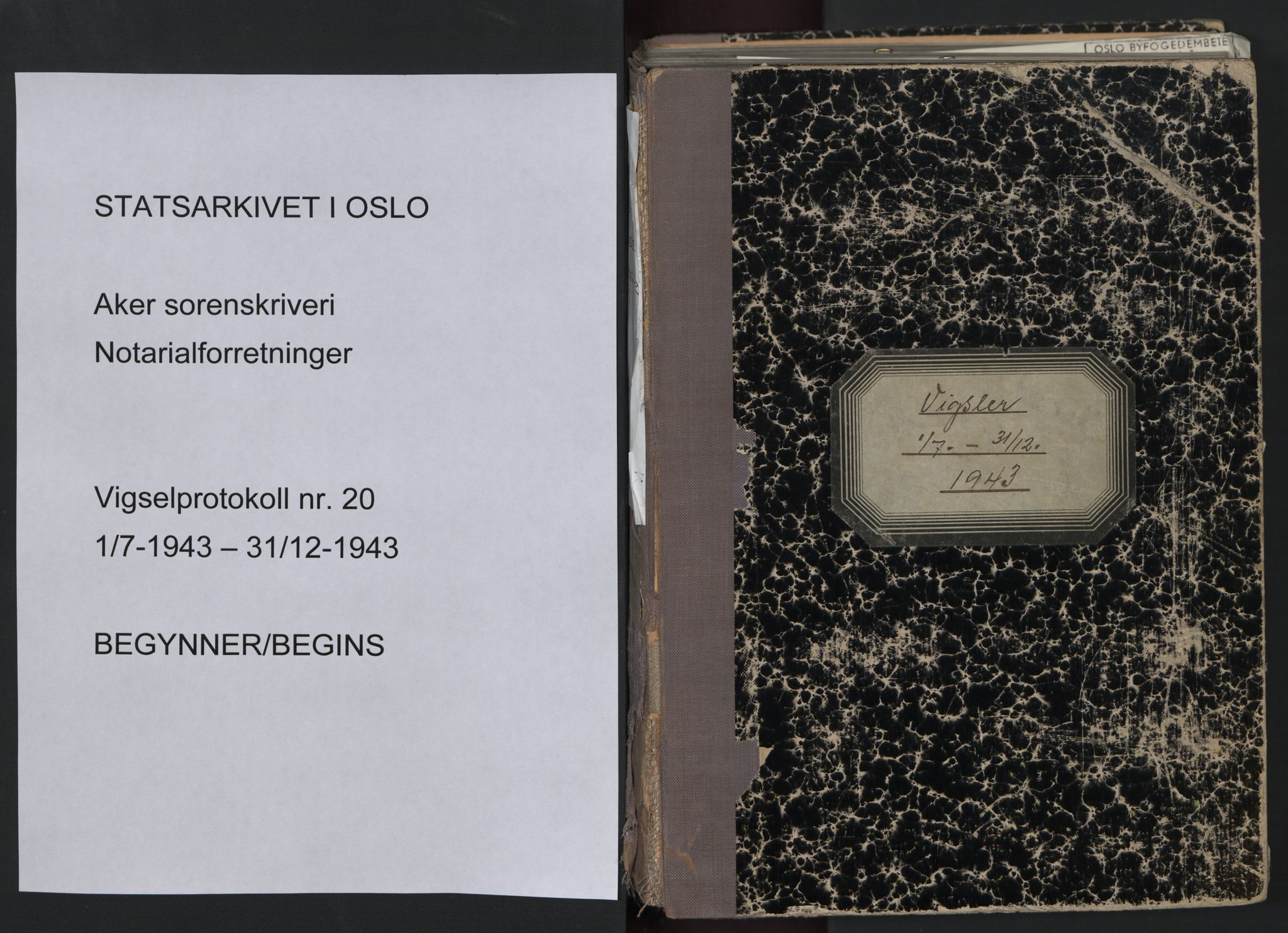 SAO, Aker sorenskriveri, L/Lc/Lcb/L0020: Vigselprotokoll, 1943, s. upaginert