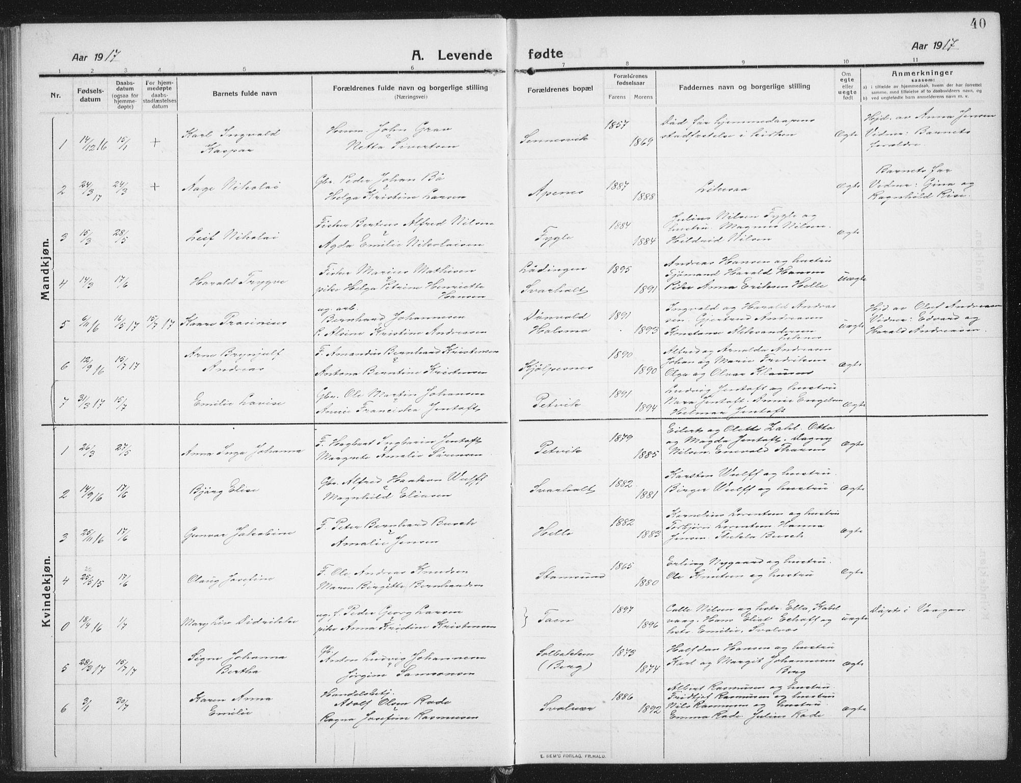 SAT, Ministerialprotokoller, klokkerbøker og fødselsregistre - Nordland, 882/L1183: Klokkerbok nr. 882C01, 1911-1938, s. 40